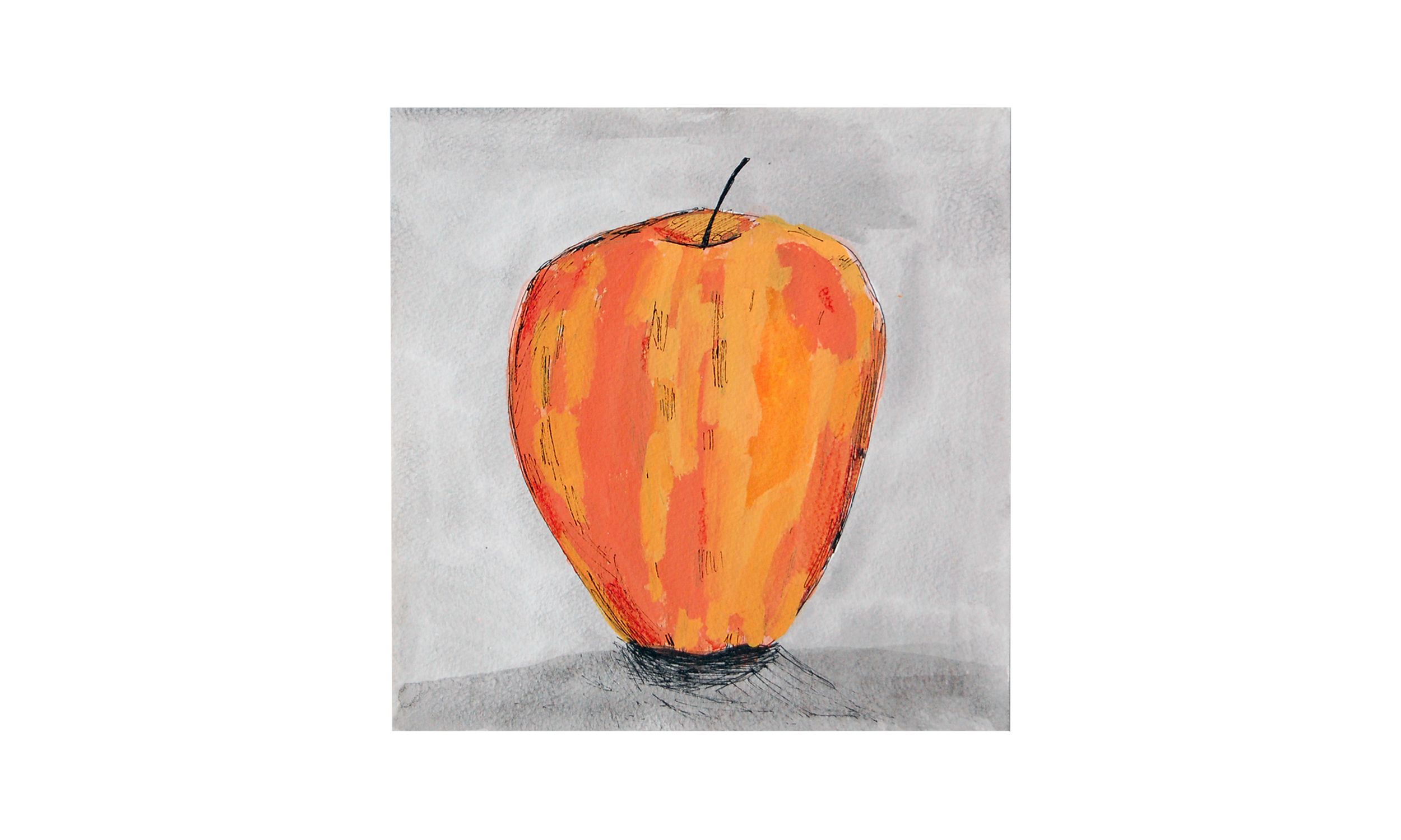 """Pink Lady Apple,  ink and watercolor on paper, 9"""" x 9"""", $150    Contact us for purchase"""