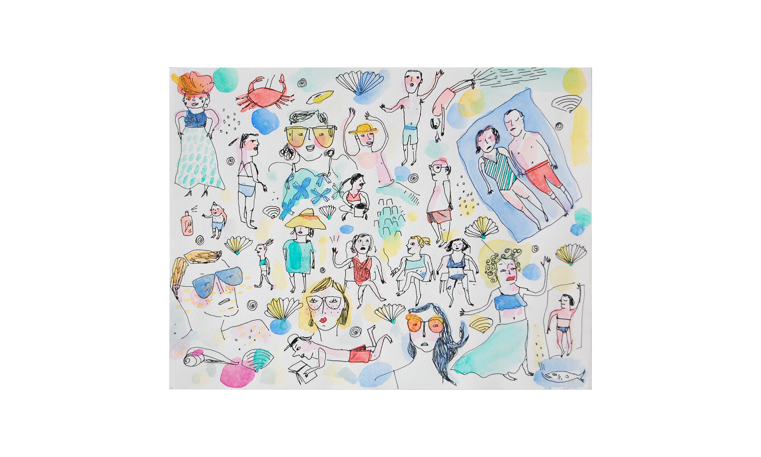 """Beach People,  ink and watercolor on paper, 9"""" x 12"""", $200    Contact us for purchase"""