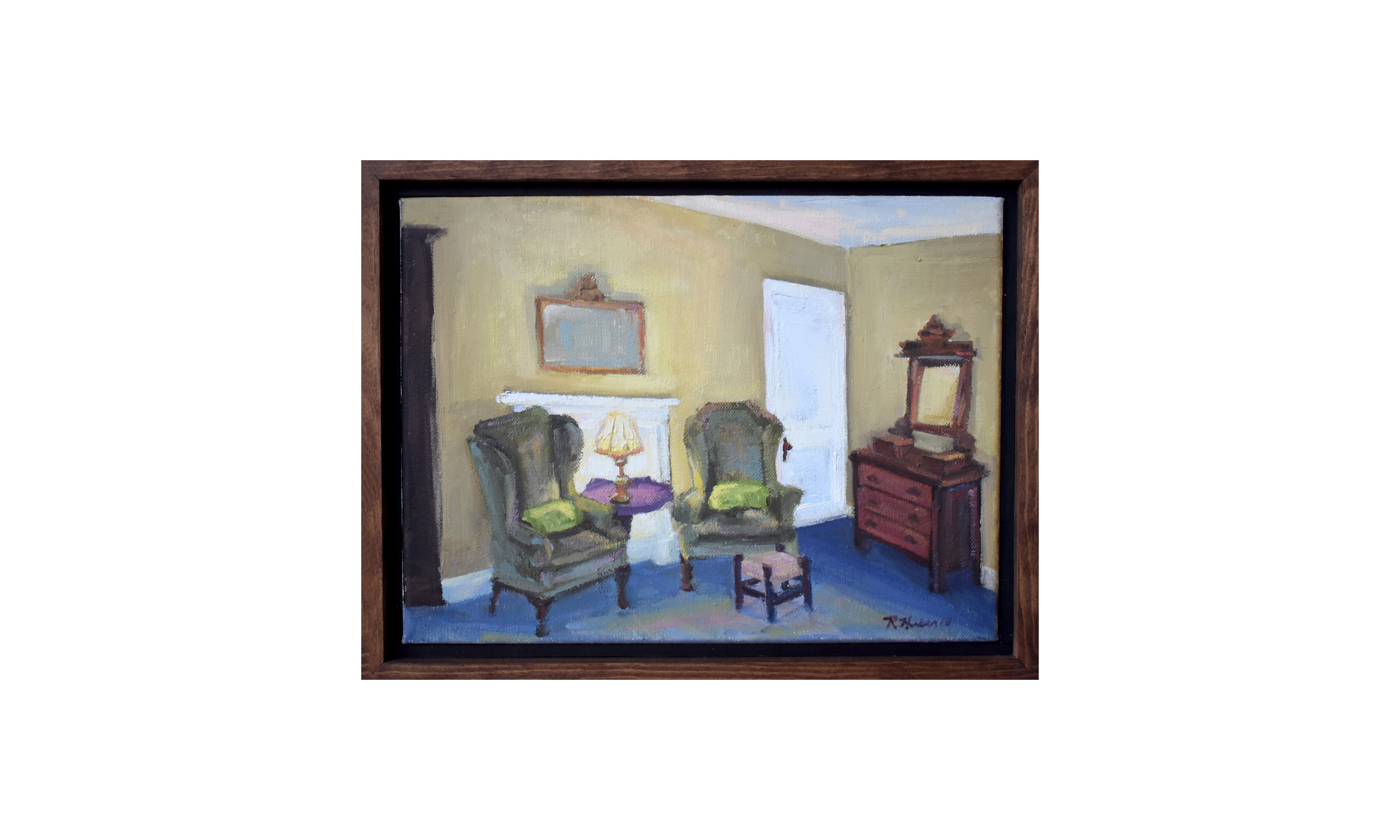 "Twin Room,  oil on canvas, 13.5"" x 10.5"", $400    Contact us for purchase"