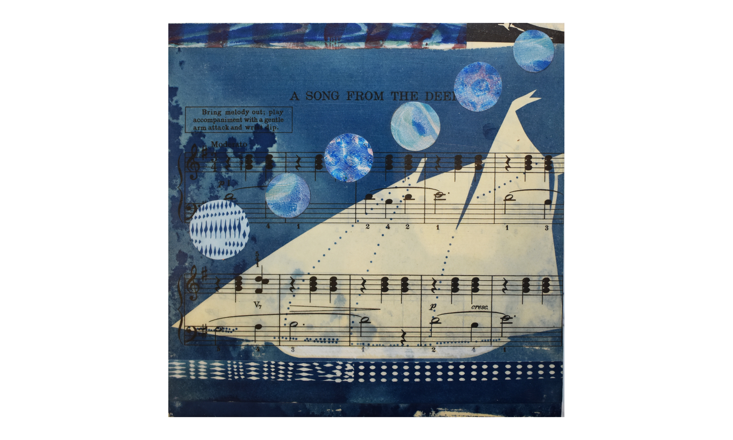 """A Song From The Deep,  cyanotype and collage on panel, 10 x 10""""    Contact us for purchase"""