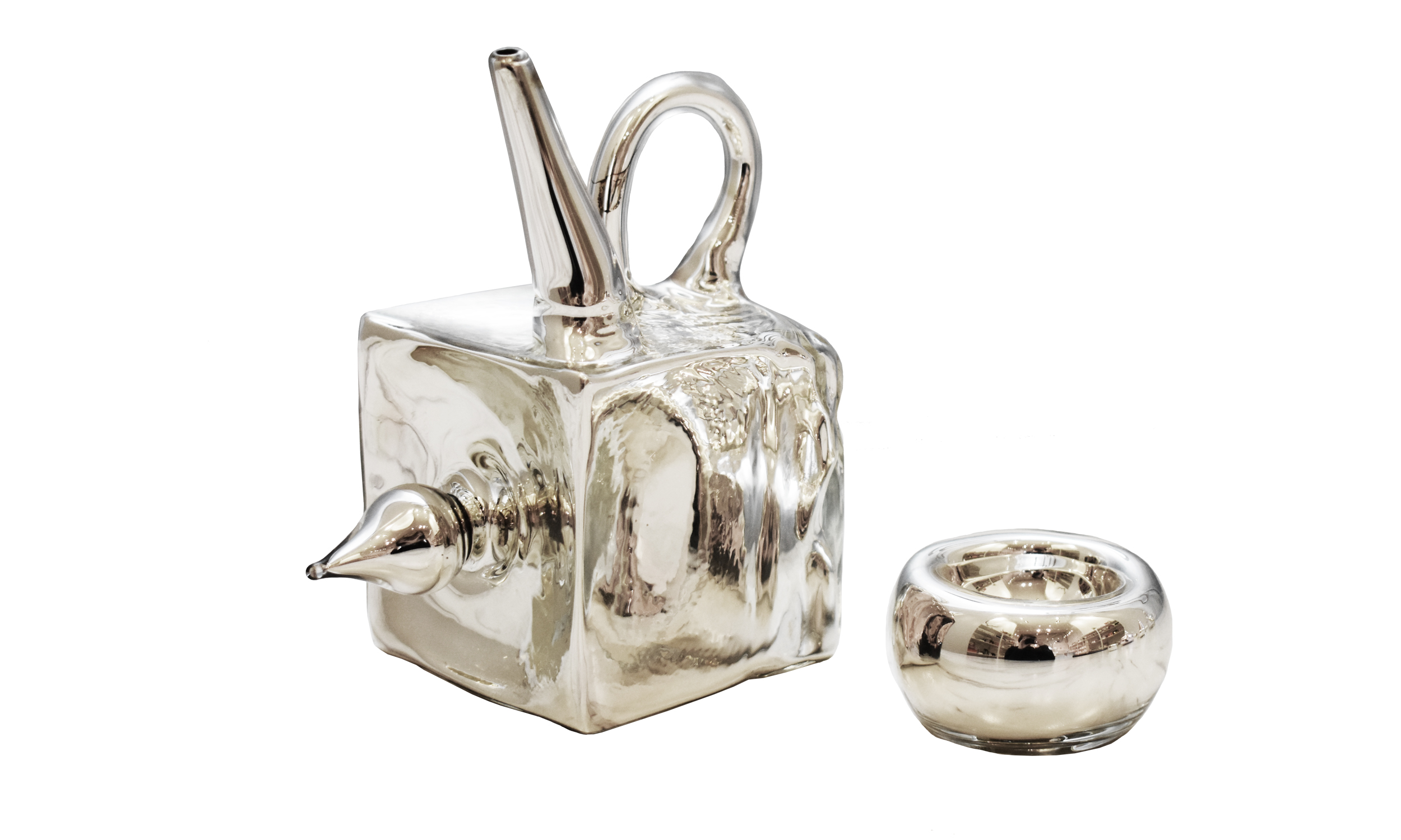 Mirrored Teapot + Cup I,  flameworked and mirrorized glass, variable dimensions, $450    Contact us for purchase