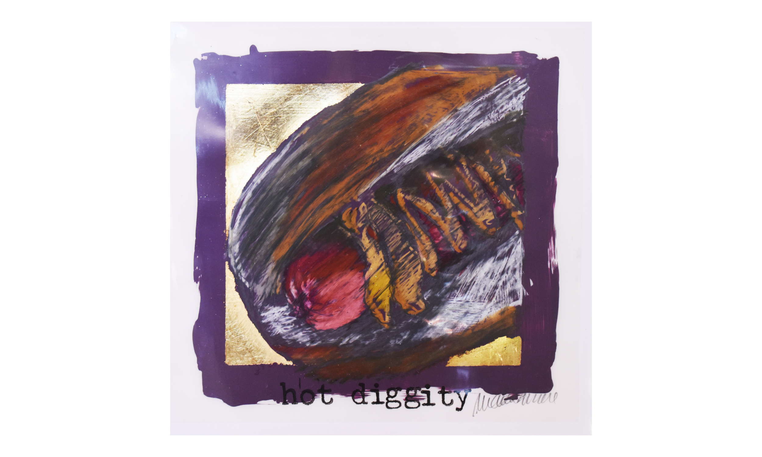 """Hot Diggity (small),  oil pastels, graphite, gilding and rubber stamping on translucent synthetic paper , 11.5"""" x 11.5"""" $275    Contact us for purchase"""