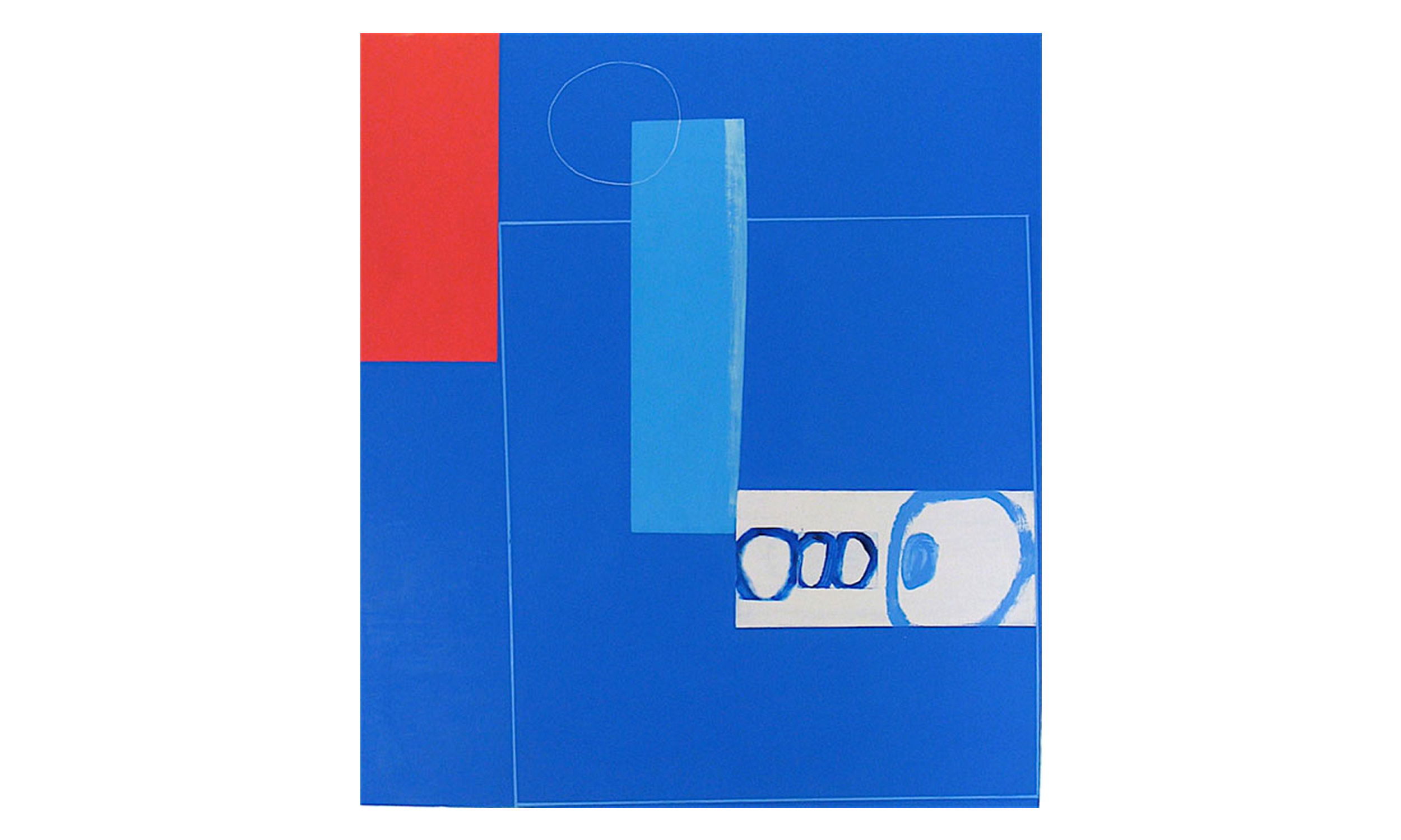 """Blue Hub,  mixed media on panel, 53"""" x 48"""", $3500    Contact us for purchase"""