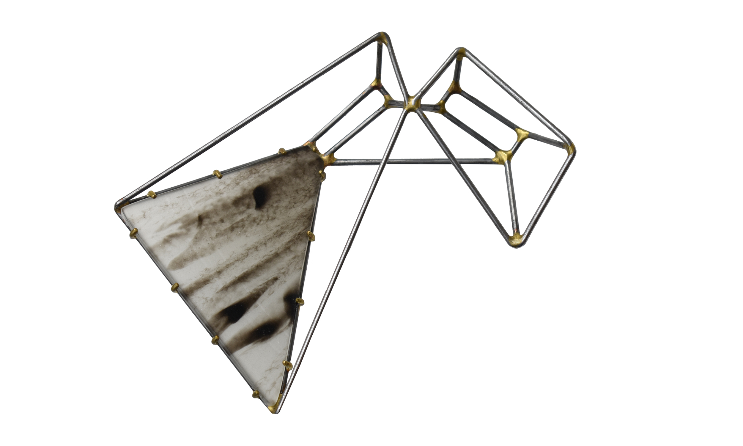 Foundation Trapezoid Paired Brooch with Marbled Vinyl,  steel, brass, sterling silver, vinyl, $250    Contact us for purchase