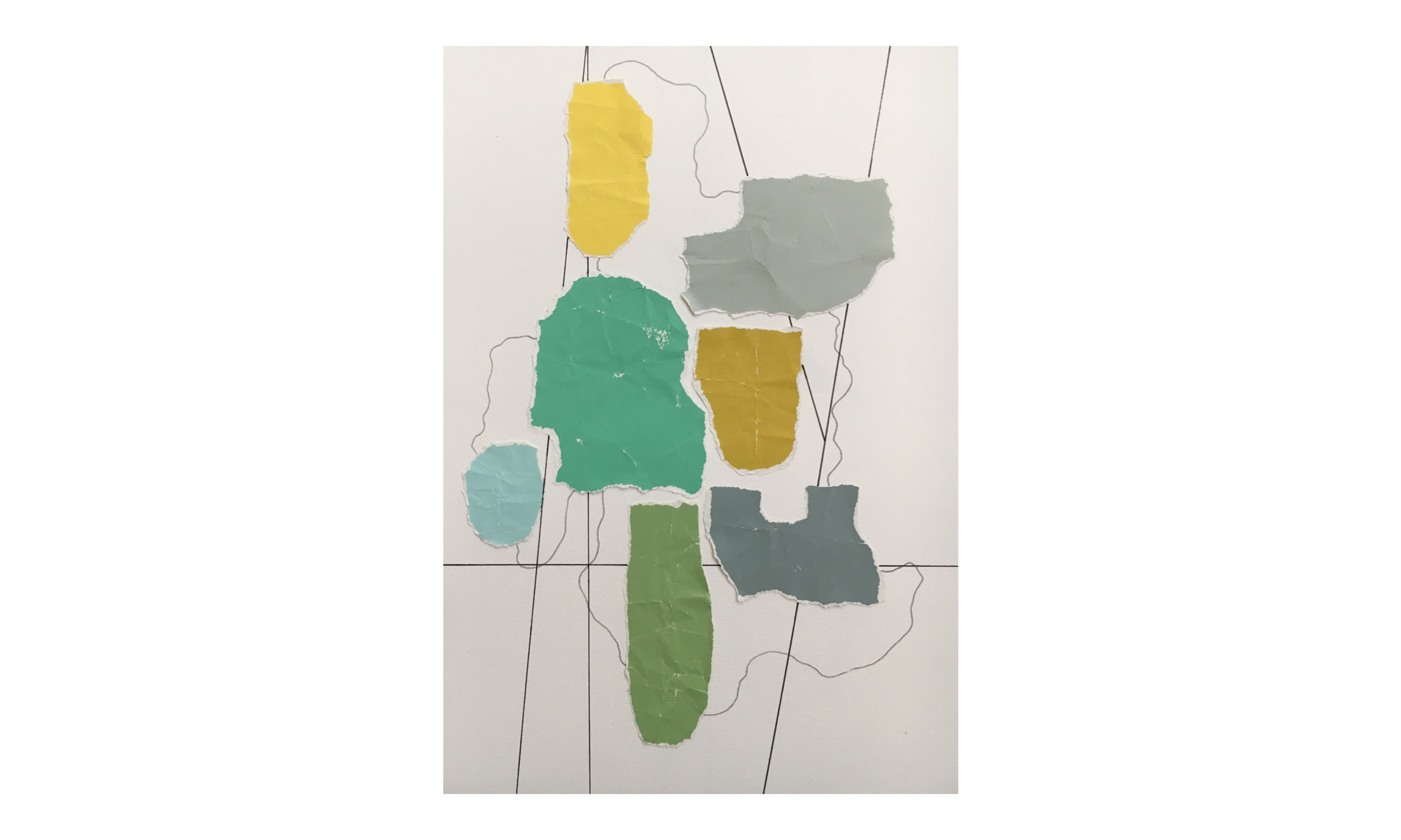 Imaginary Maps 1 , paint chips on paper, pen, pencil, 9 x 12 inches, unframed, $200    Contact us for purchase