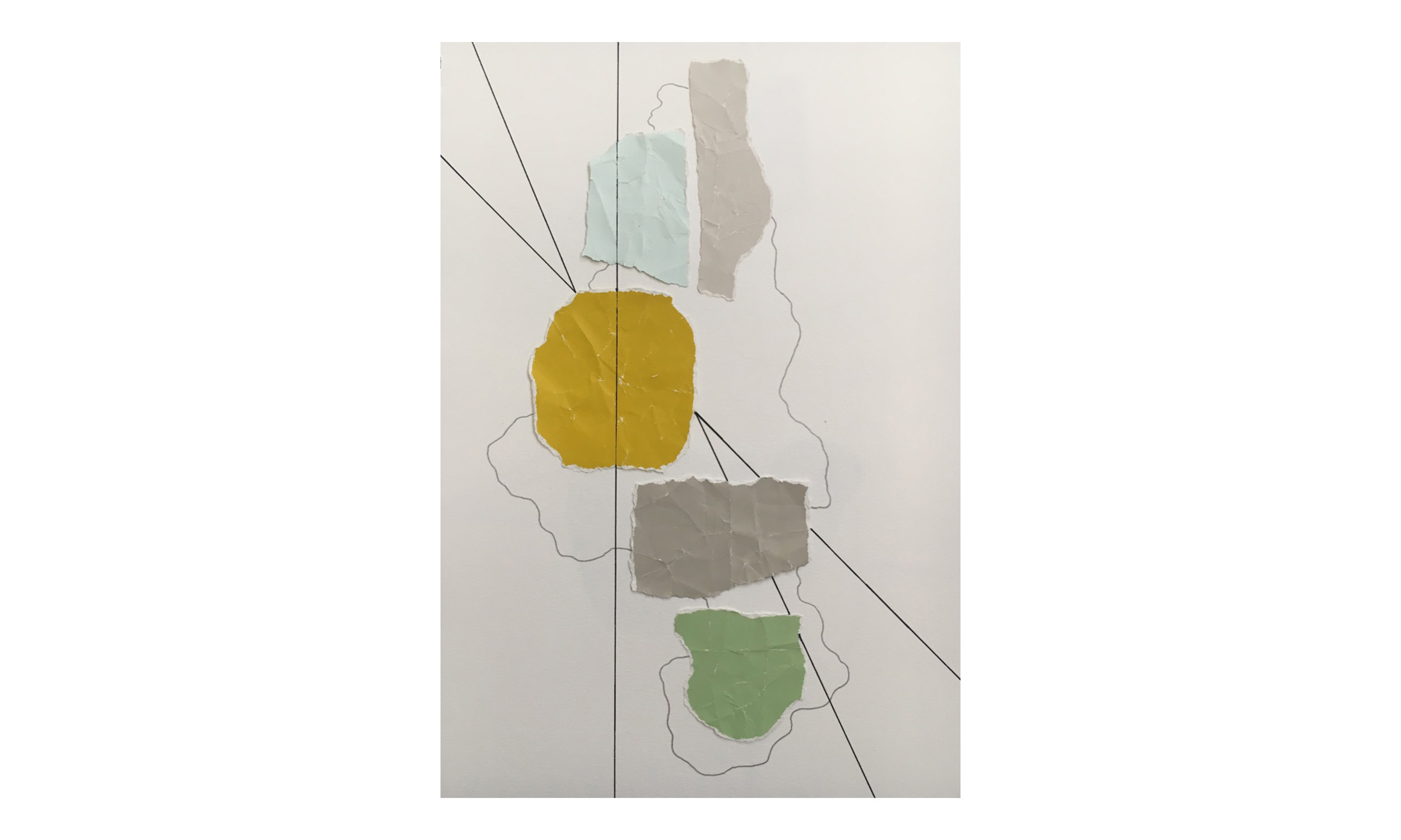 Imaginary Maps 2 , paint chips on paper, pen, pencil, 9 x 12 inches, unframed, $200    Contact us for purchase
