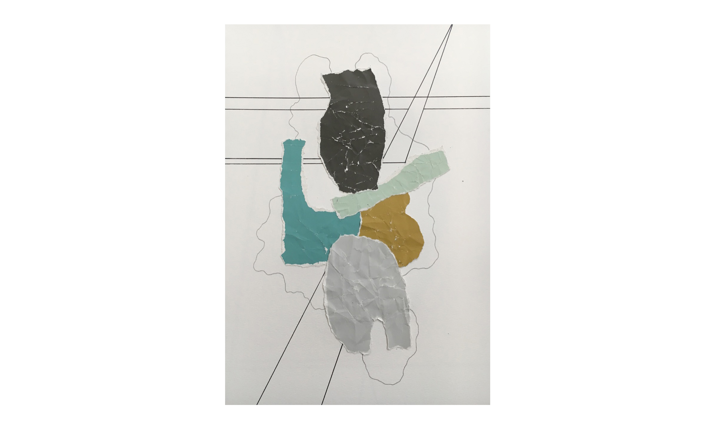 Imaginary Maps 4 , paint chips on paper, pen, pencil, 9 x 12 inches, unframed, $200    Contact us for purchase