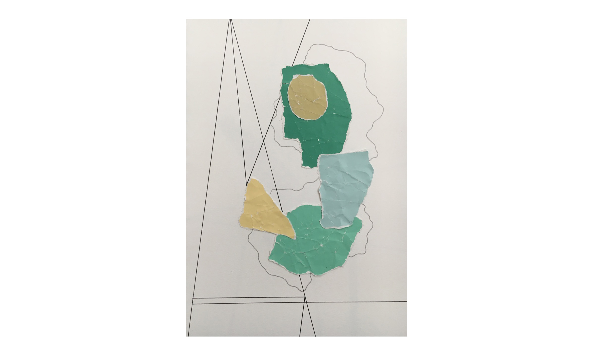 Imaginary Maps 5 , paint chips on paper, pen, pencil, 9 x 12 inches, unframed, $200    Contact us for purchase