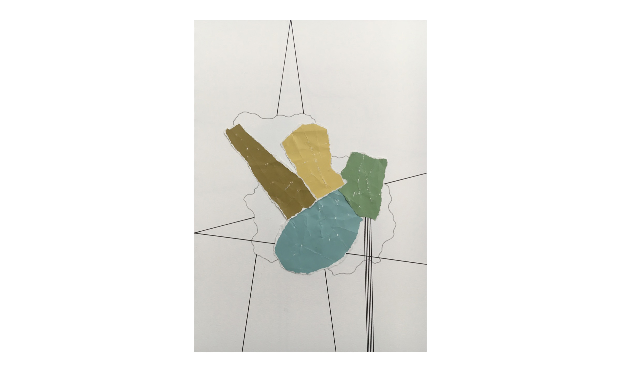 Imaginary Maps 6,  paint chips on paper, pen, pencil, 9 x 12 inches, unframed, $200    Contact us for purchase