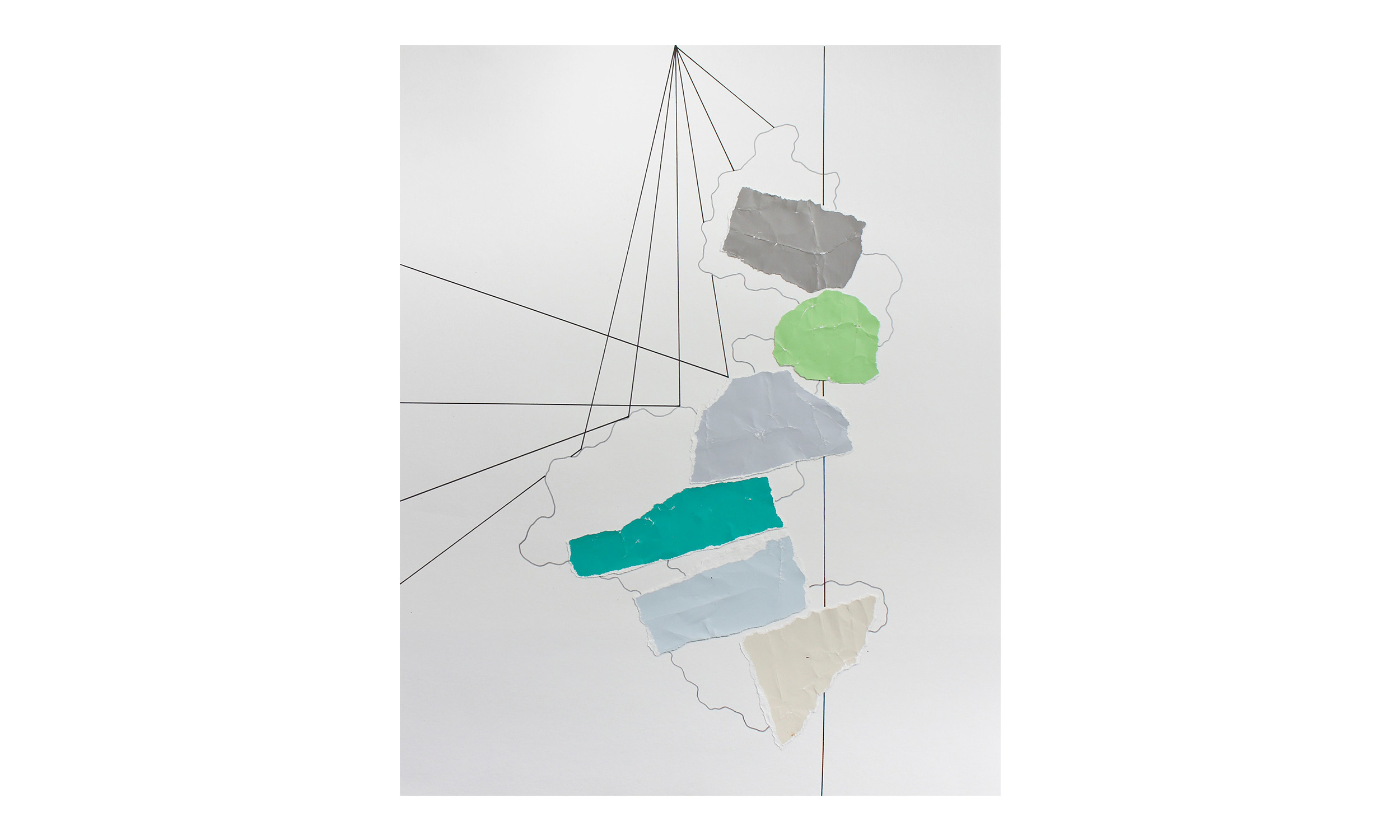 Imaginary Maps 11 , paint chips on paper, pen, pencil, powdered graphite, 11 x 14 inches, unframed, $200    Contact us for purchase