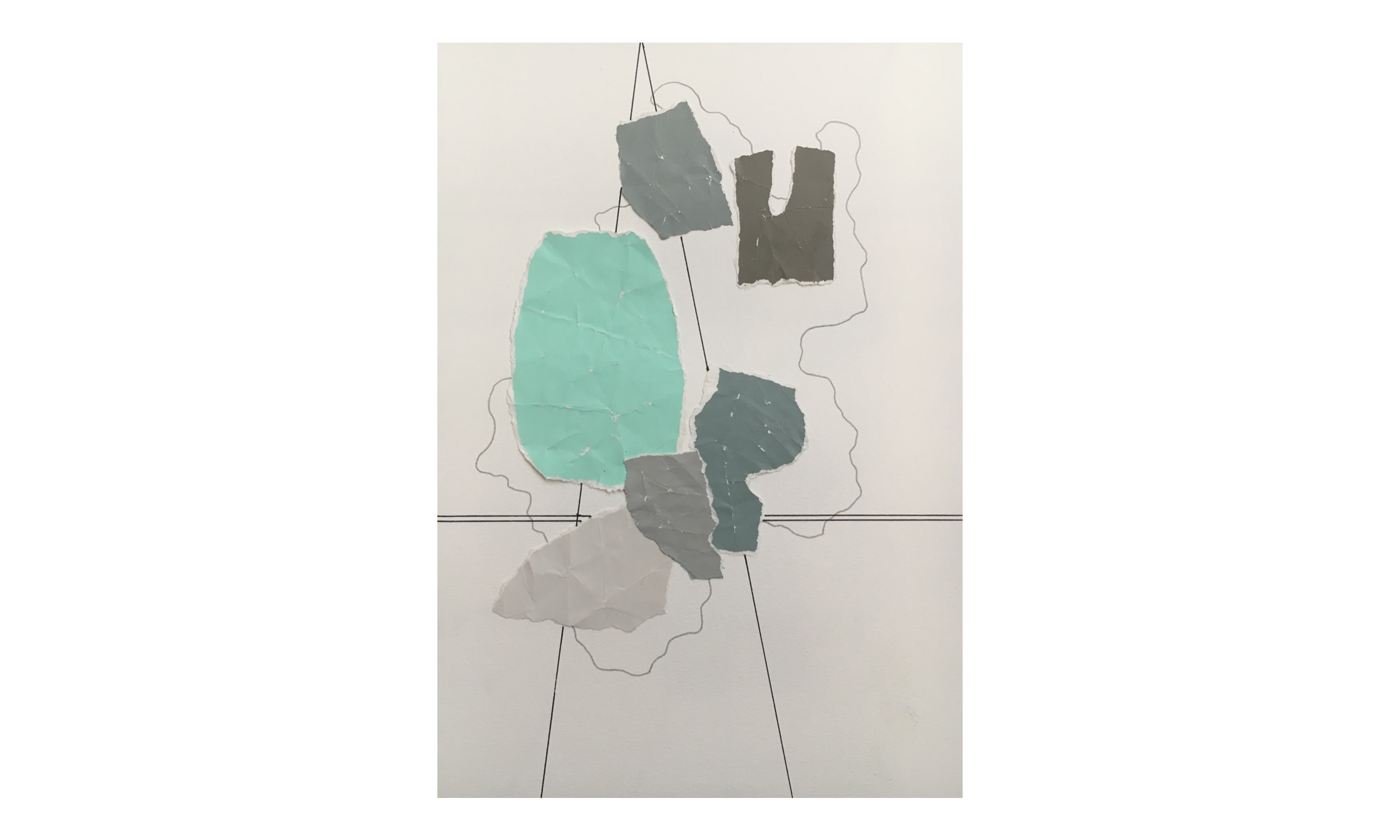 Imaginary Maps 10 , paint chips on paper, pen, pencil, powdered graphite, 11 x 14 inches, unframed, $200    Contact us for purchase