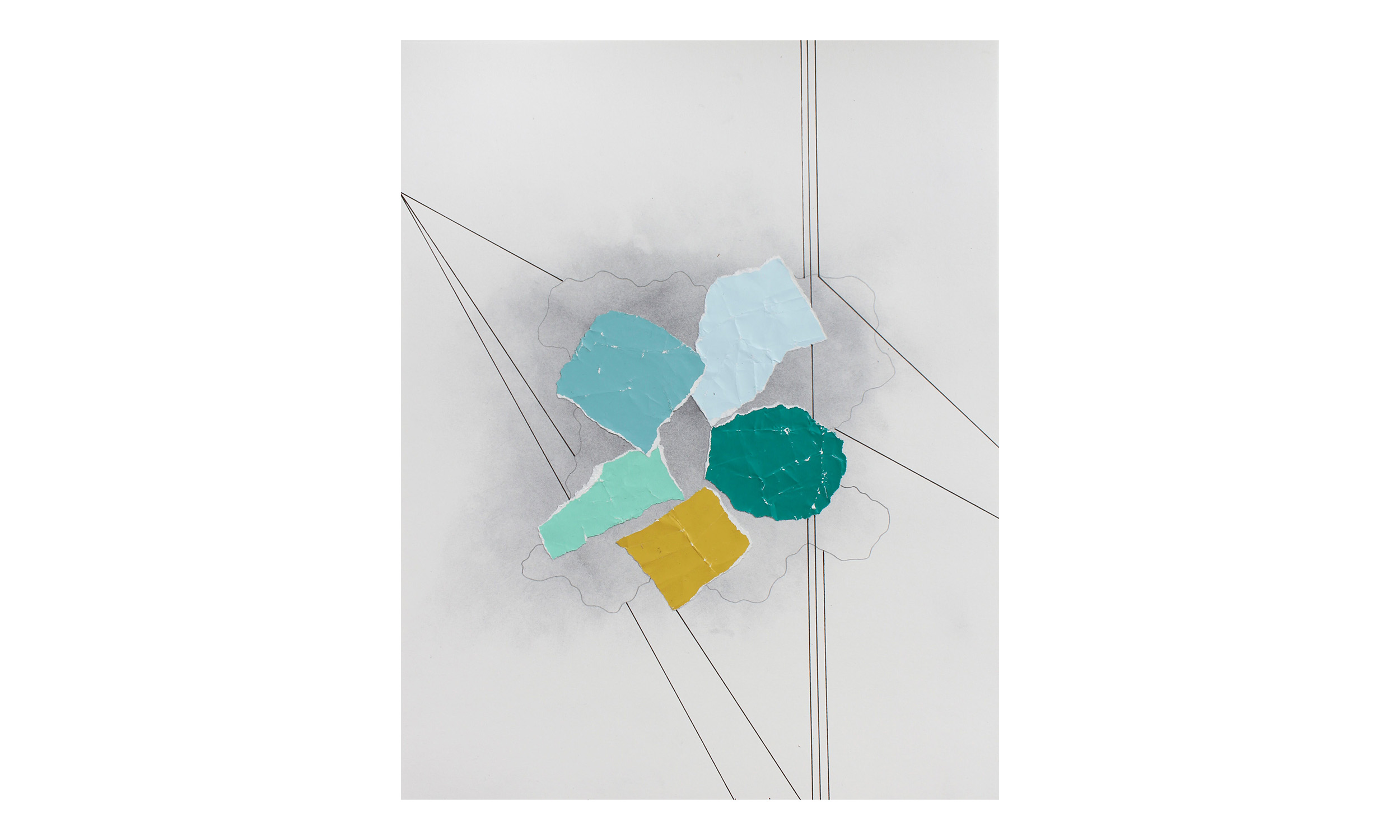 Imaginary Maps 14 , paint chips on paper, pen, pencil, powdered graphite, 11 x 14 inches, unframed, $200    Contact us for purchase