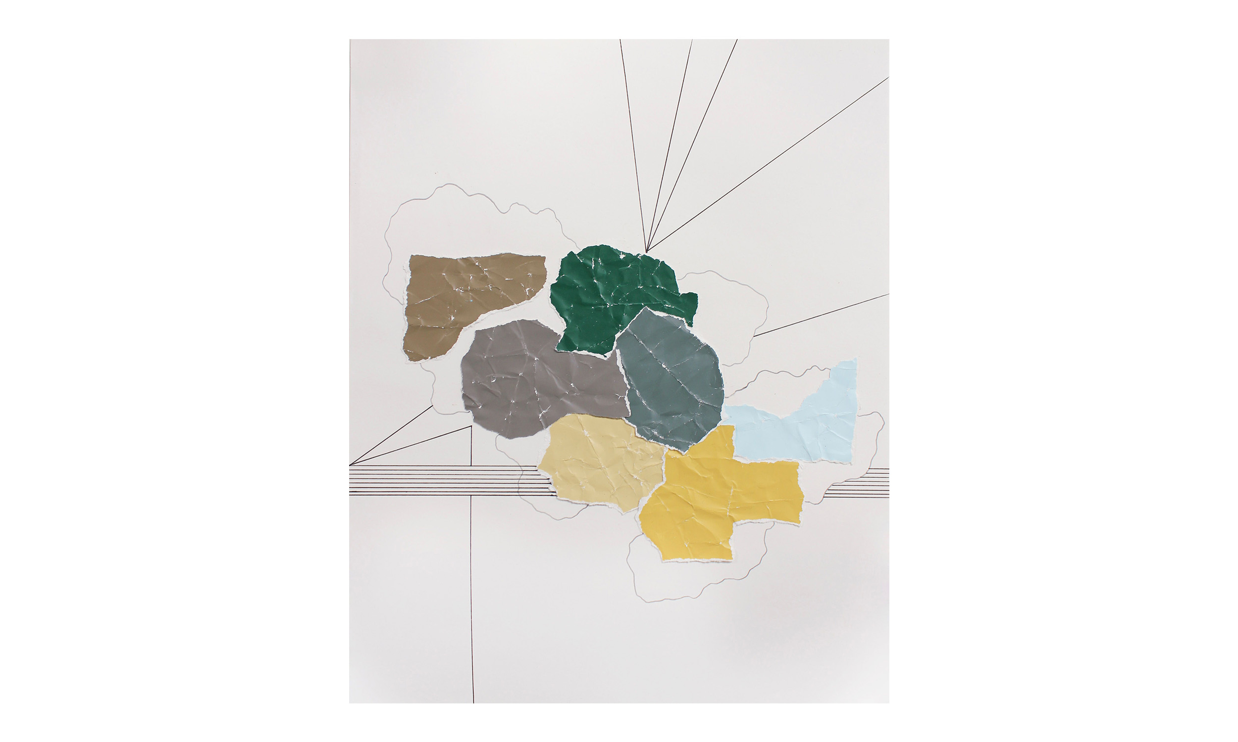 Imaginary Maps 12 , paint chips on paper, pen, pencil, powdered graphite, 11 x 14 inches, unframed, $200    Contact us for purchase