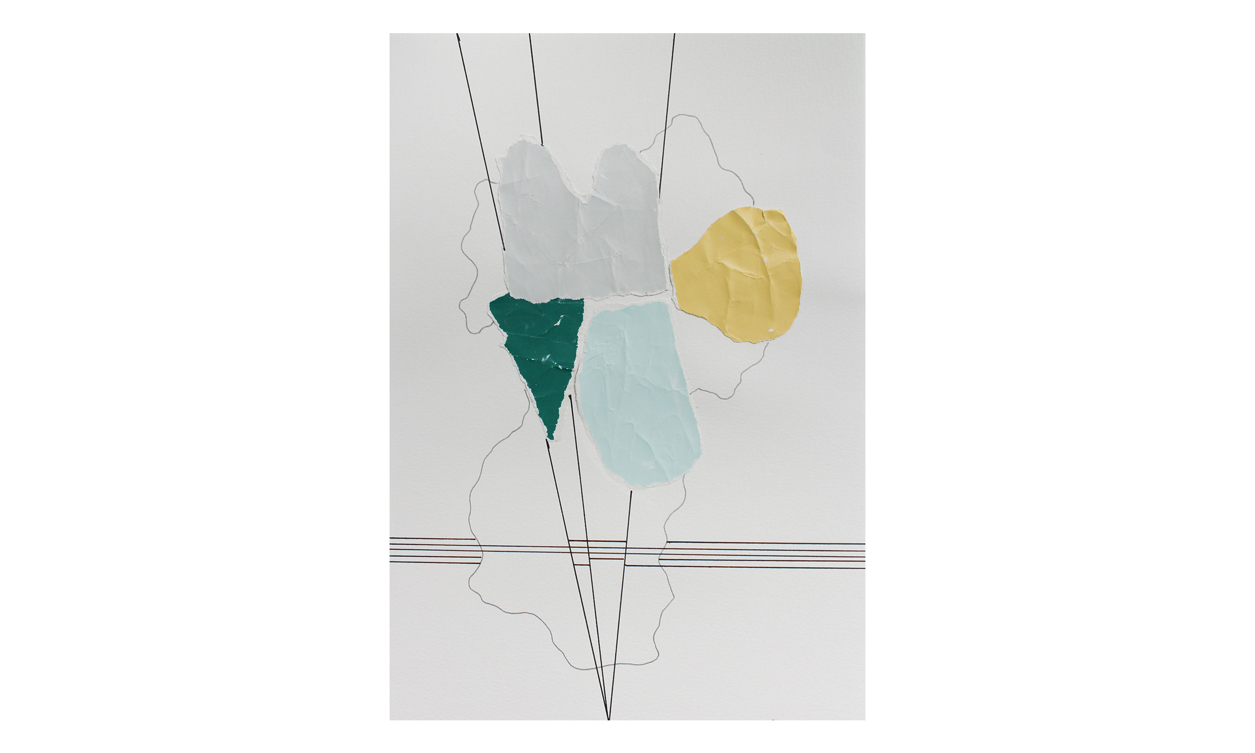 Imaginary Maps 8 , paint chips on paper, pen, pencil, 9 x 12 inches, unframed, $200    Contact us for purchase