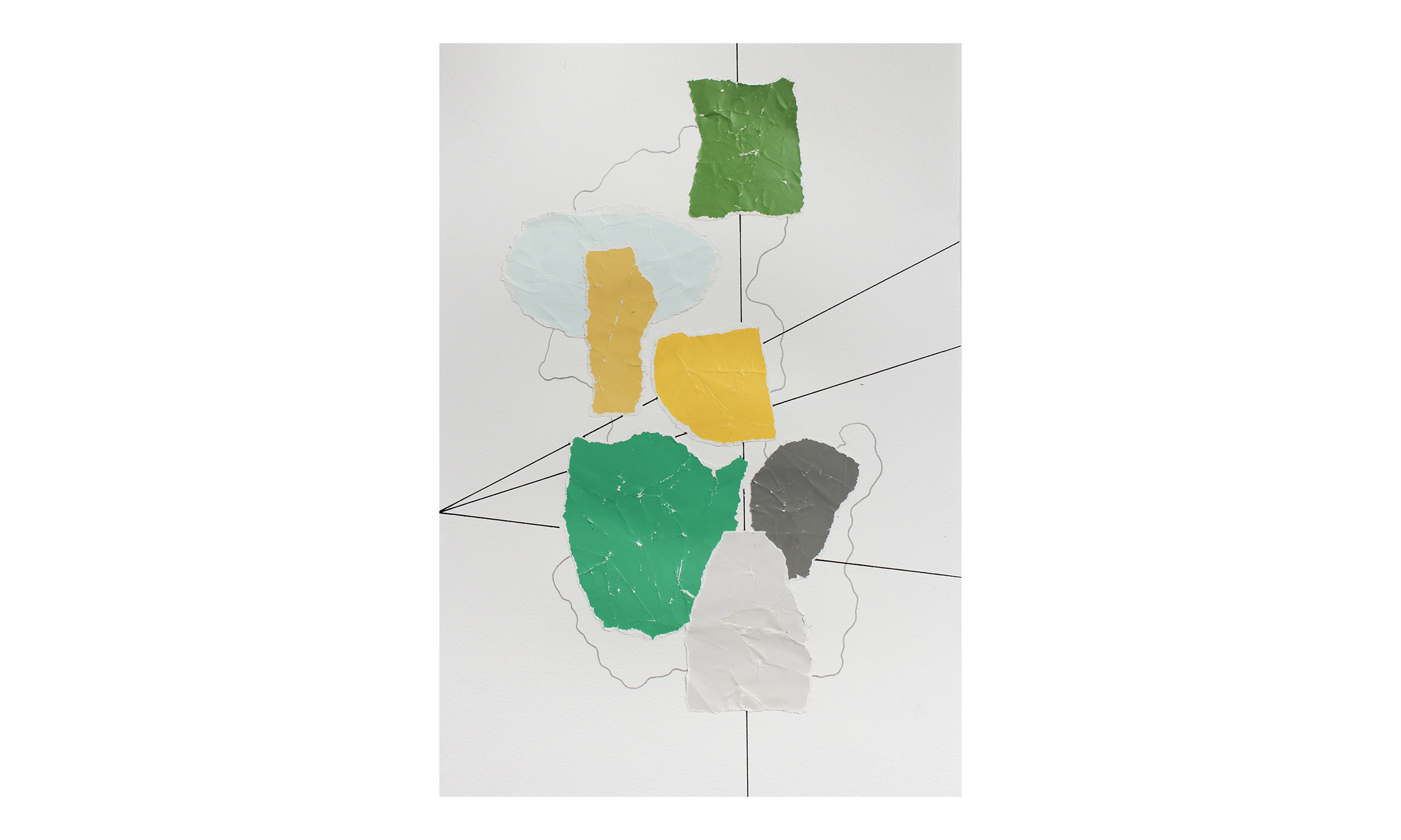 Imaginary Maps 9 , paint chips on paper, pen, pencil, 9 x 12 inches, unframed, $200    Contact us for purchase