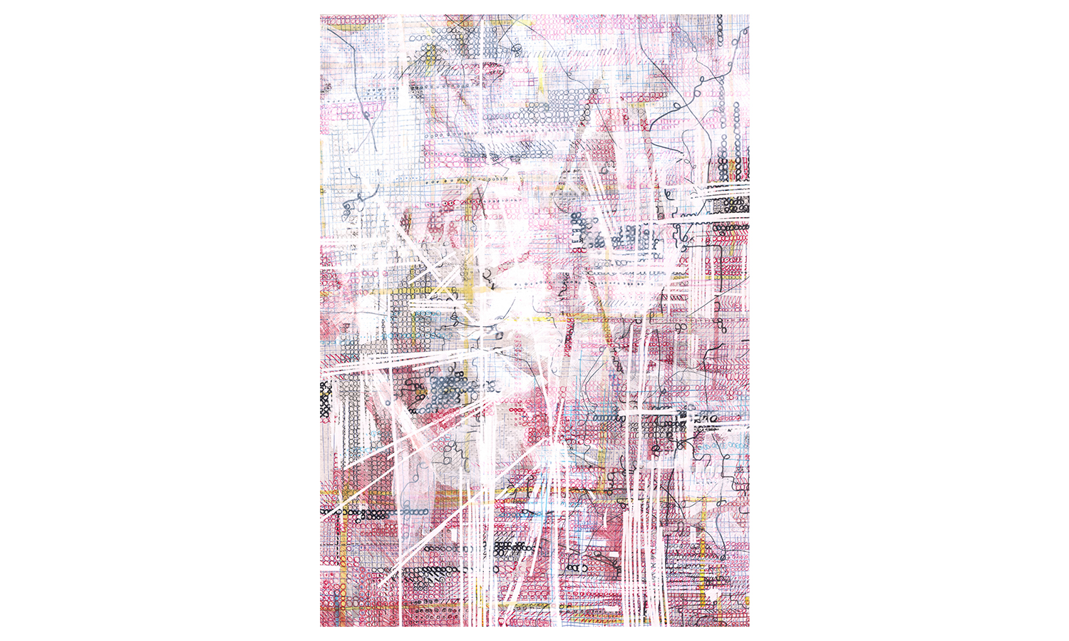 "Structures IV , ink, colored pencil, correction tape, correction fluid, artist tape on mulberry paper, 25x37"", $1,600    Contact us for purchase"