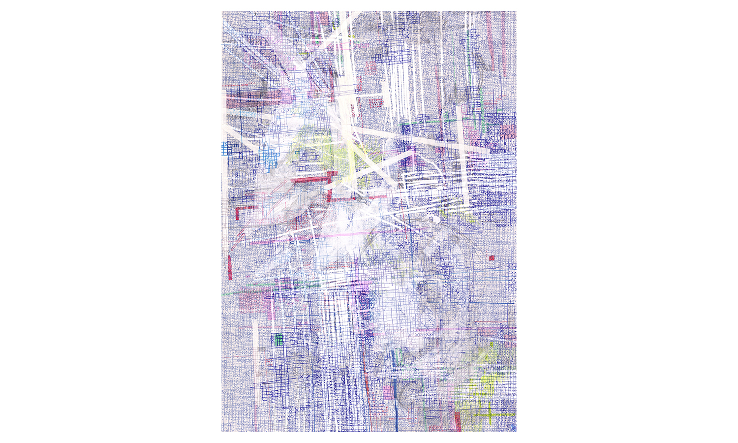 "Structures III , ink, colored pencil, correction tape, correction fluid, artist tape on mulberry paper, 25x37"", $1,600    Contact us for purchase"