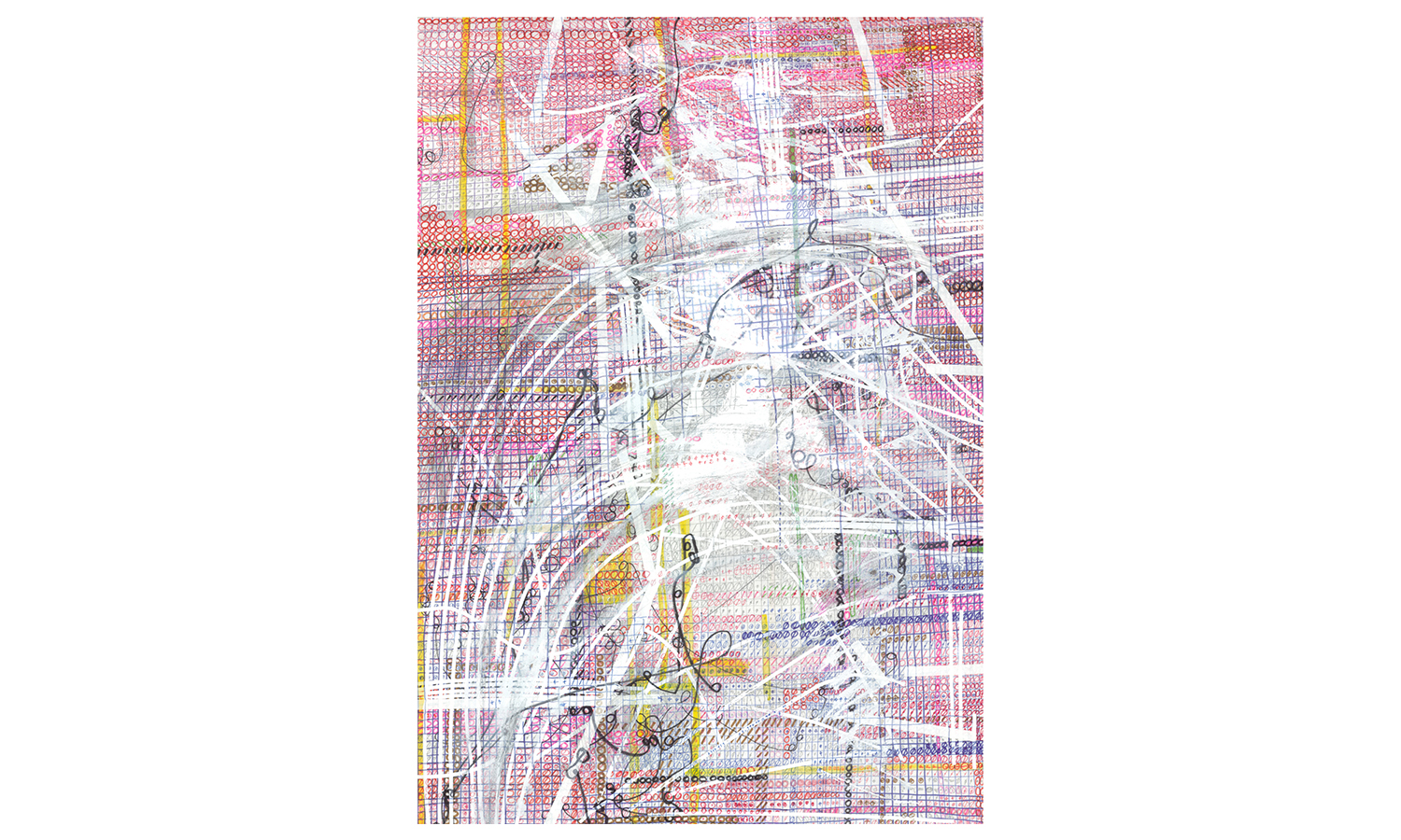 "Structures V , ink, colored pencil, correction tape, correction fluid, artist tape on mulberry paper, 25x37"", $1,600    Contact us for purchase"