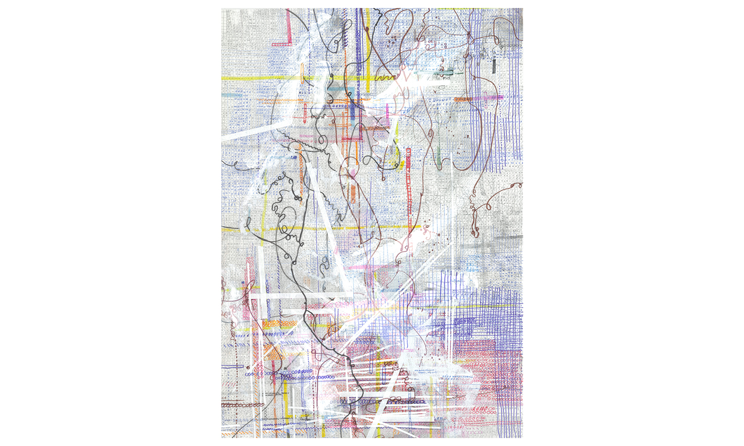 "Structures VI,  ink, colored pencil, correction tape, correction fluid, artist tape on mulberry paper, 25x37"", $1,600    Contact us for purchase"