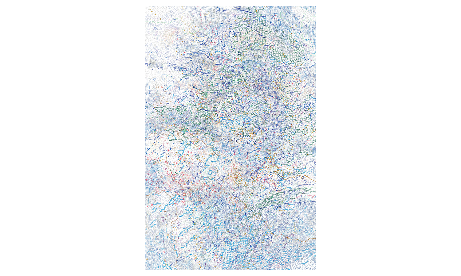 "Structures XI , ink, colored pencil, correction tape, correction fluid on mulberry paper, 37x60"", $5,000    Contact us for purchase"