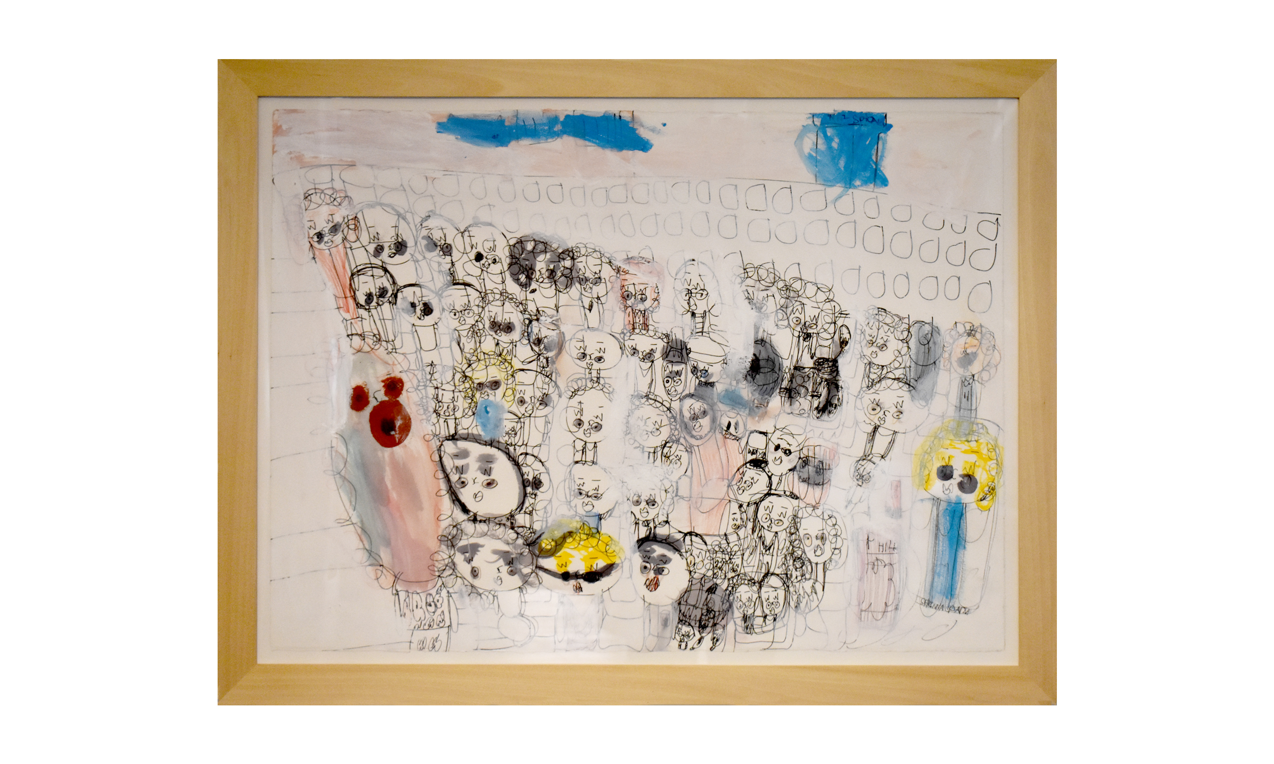 Friends from Shickmim, 1999  (By Andrea Budu-inspire), mixed media on paper, $650    Contact us for purchase