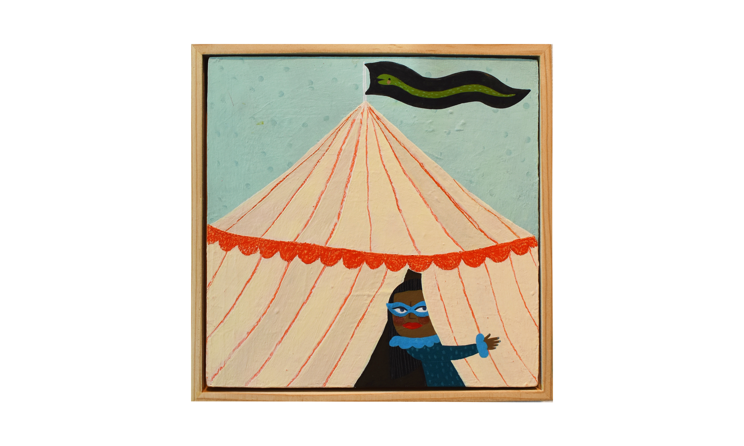 The Mysterious Tent , mixed media on wood panel, 8 x 8 inches, SOLD