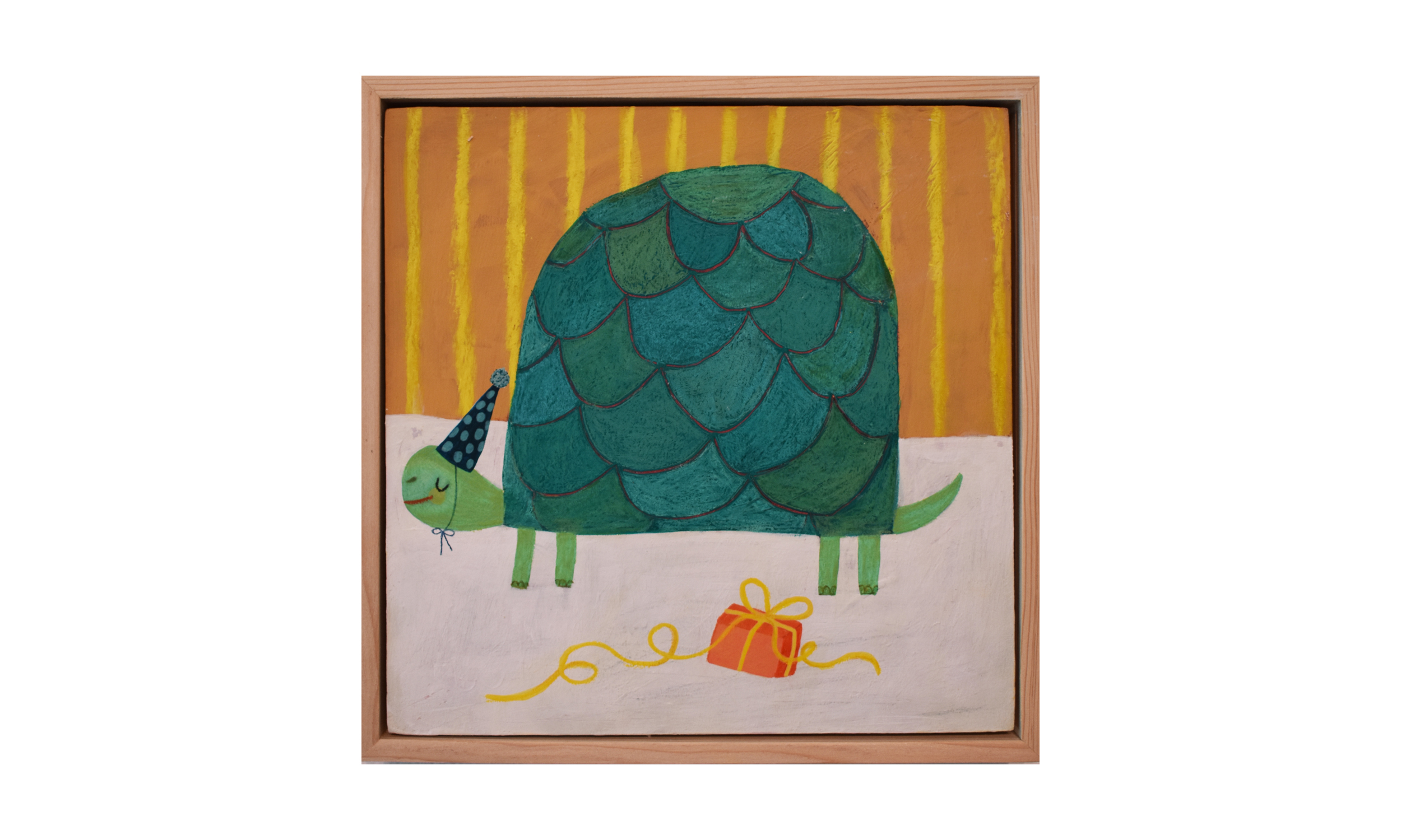 Turtle Birthdays Forever,  mixed media on wood panel, 8 x 8 inches, SOLD