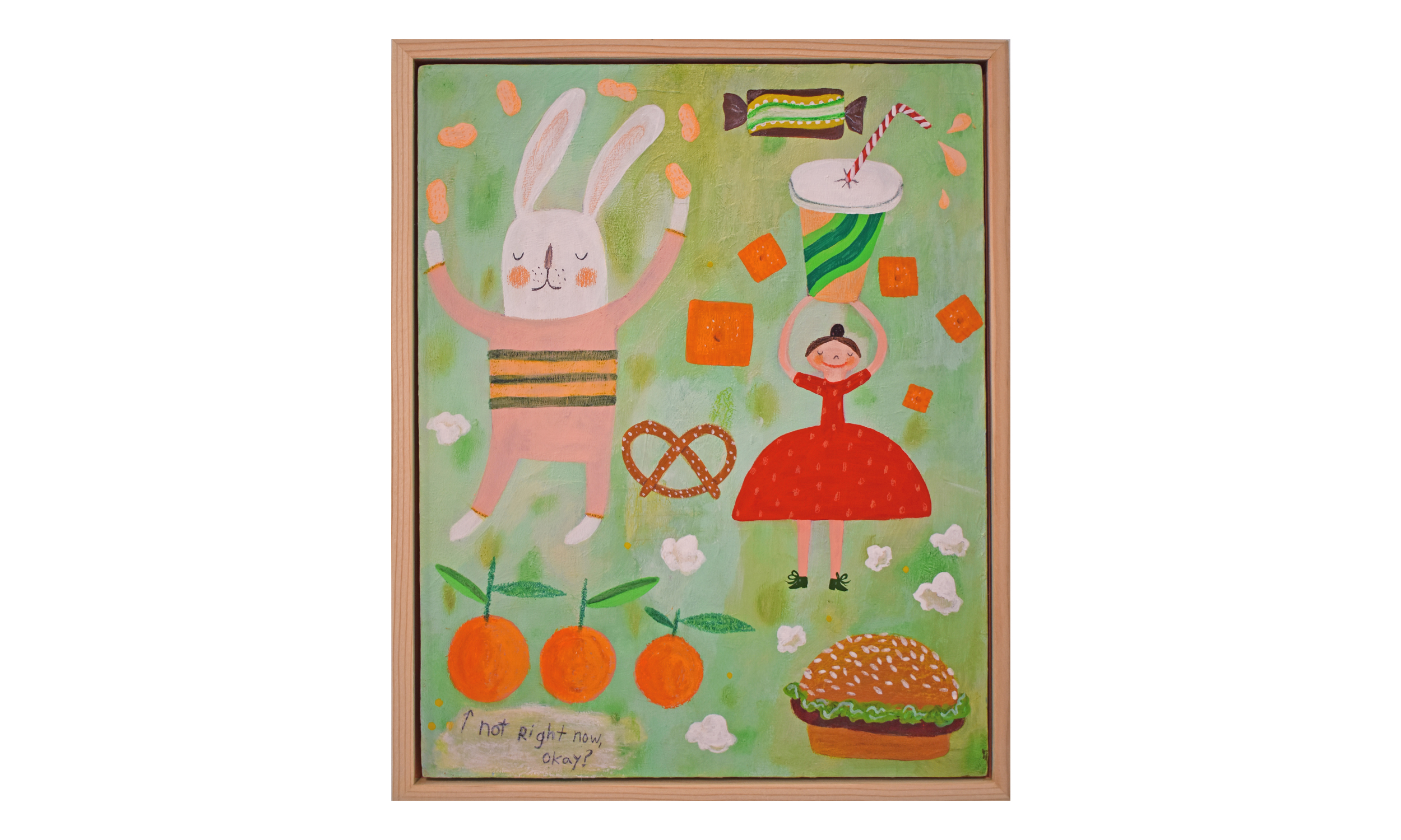 Snack Fantasy , mixed media on wood panel, 8 x 10 inches, SOLD    Contact us for purchase