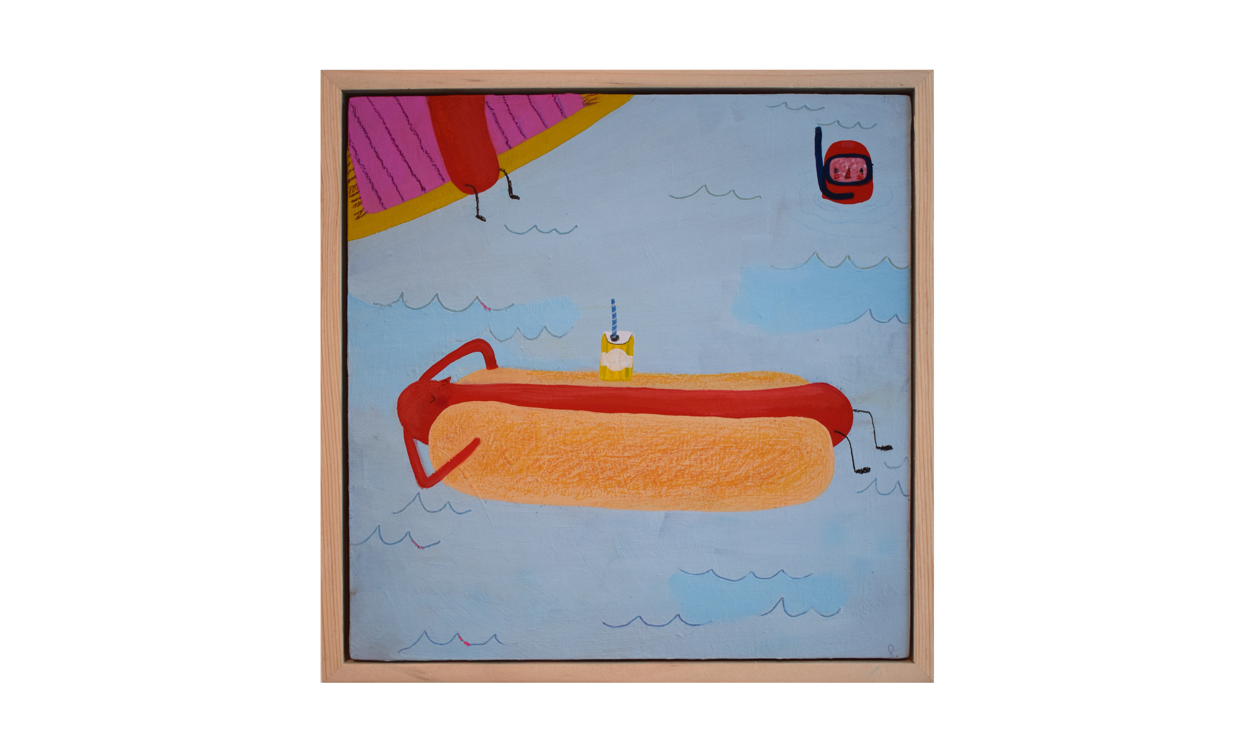 Hot Dogs On Vacation , mixed media on wood panel, 8 x 8 inches, SOLD