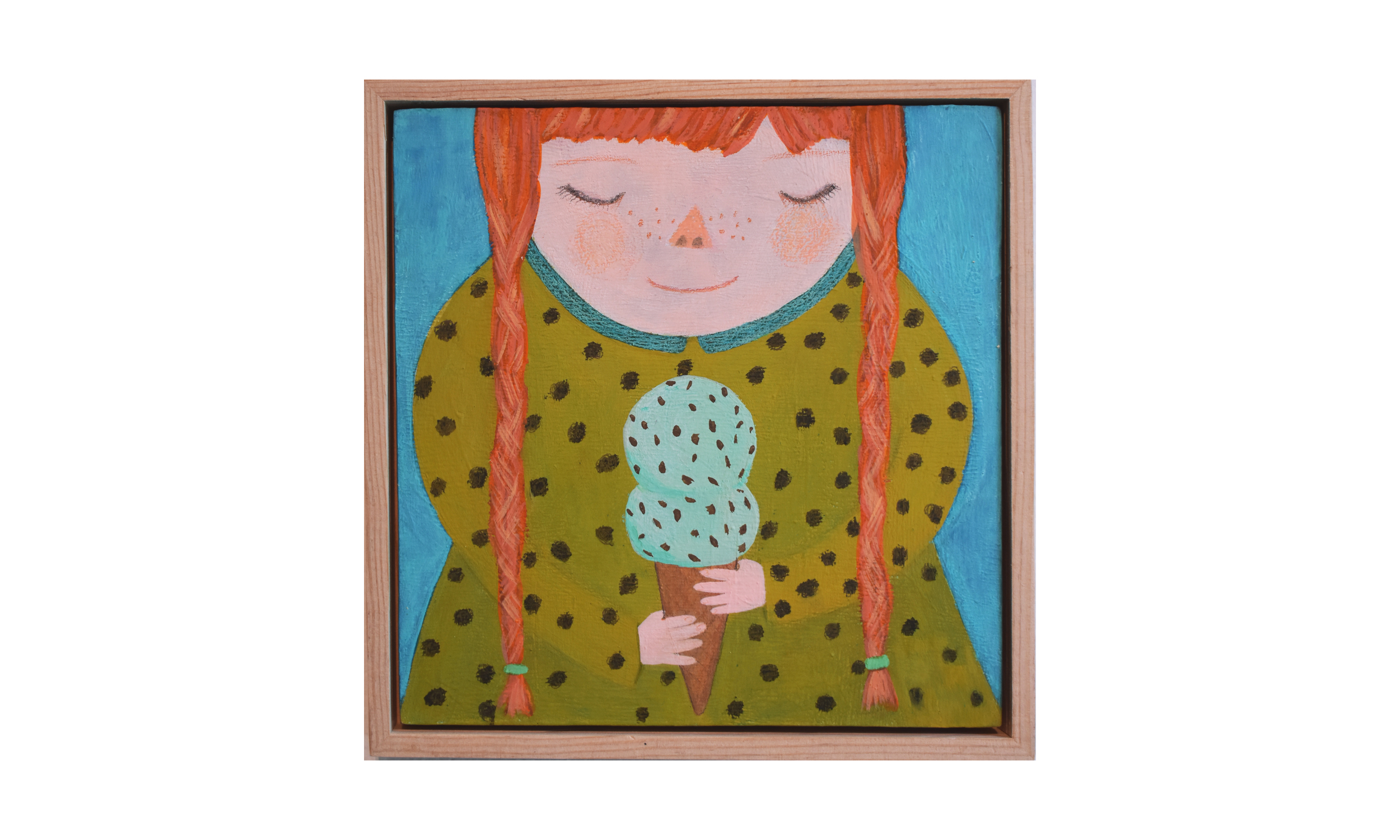 Mint Chip Forever , mixed media on wood panel, 8 x 8 inches, SOLD