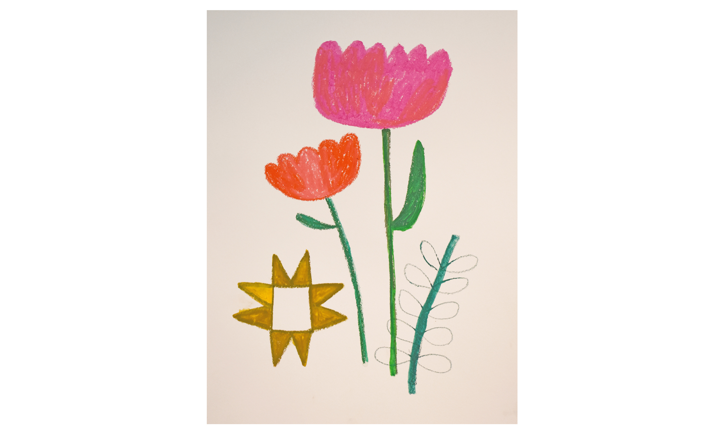 Prize Tulips , crayon on paper, 18 x 24 inches, SOLD