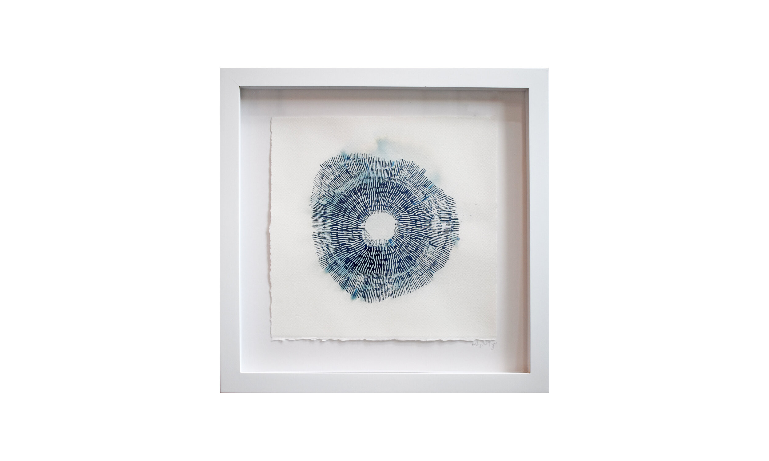 """Haeligewielle I (The Source) , cyanotype painting 13.25"""" x 13.25"""", framed $ 850    Contact us for purchase"""
