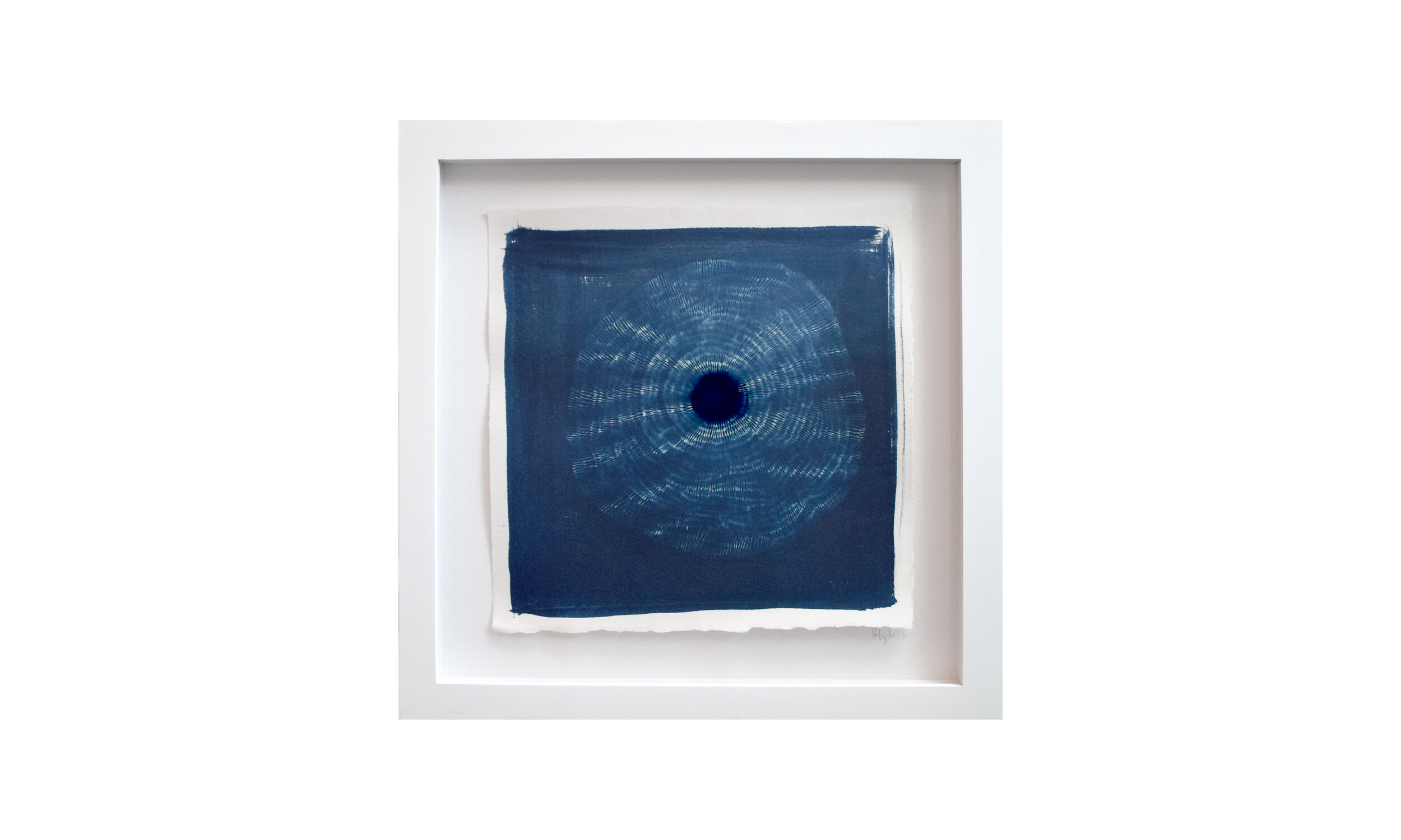 """Haeligewielle II , cyanotype print, 13.25"""" x 13.25"""", framed, $ 750    Contact us for purchase"""