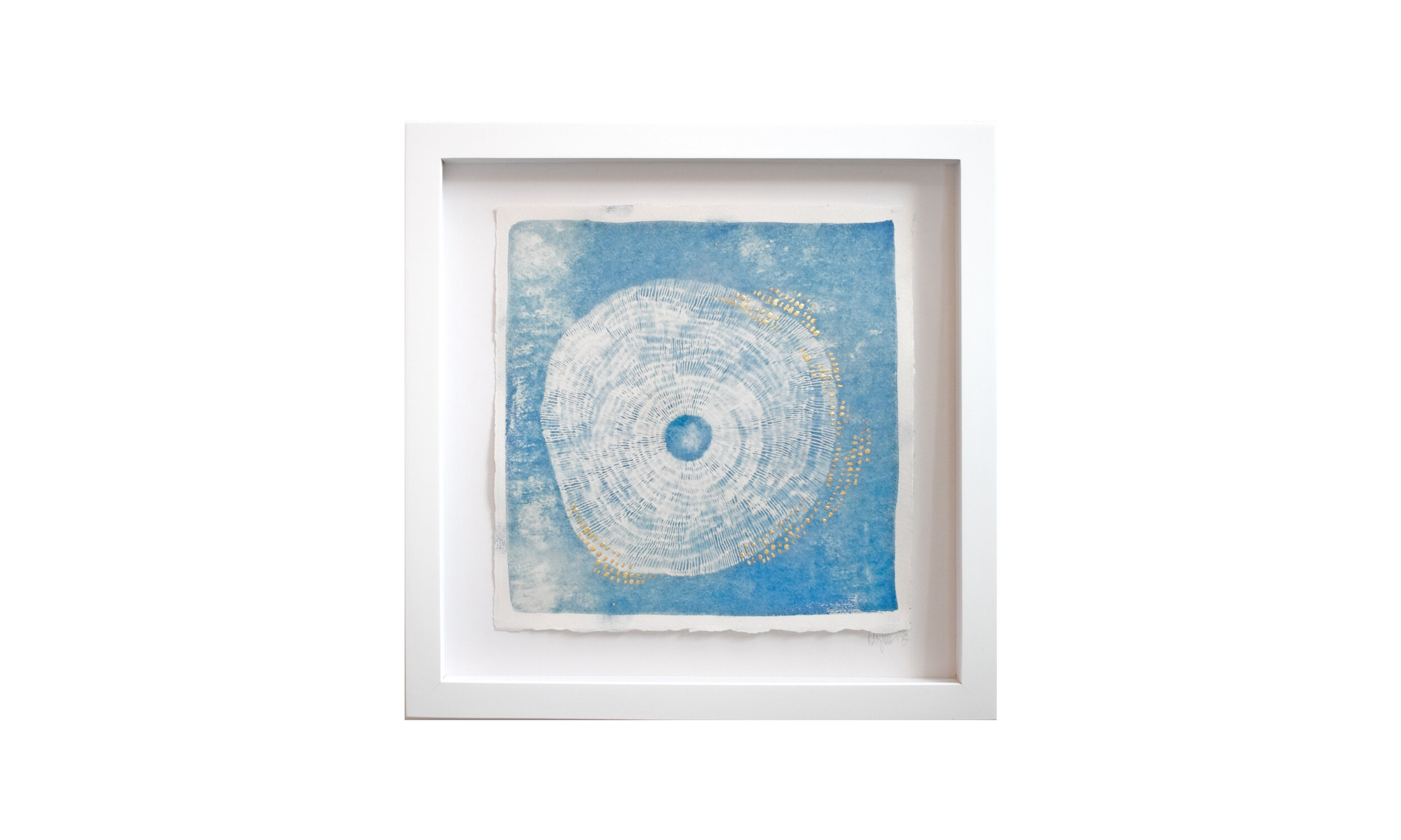 """Haeligewielle III , cyanotype print with metal leaf, 13.25"""" x 13.25"""", framed, $ 750    Contact us for purchase"""