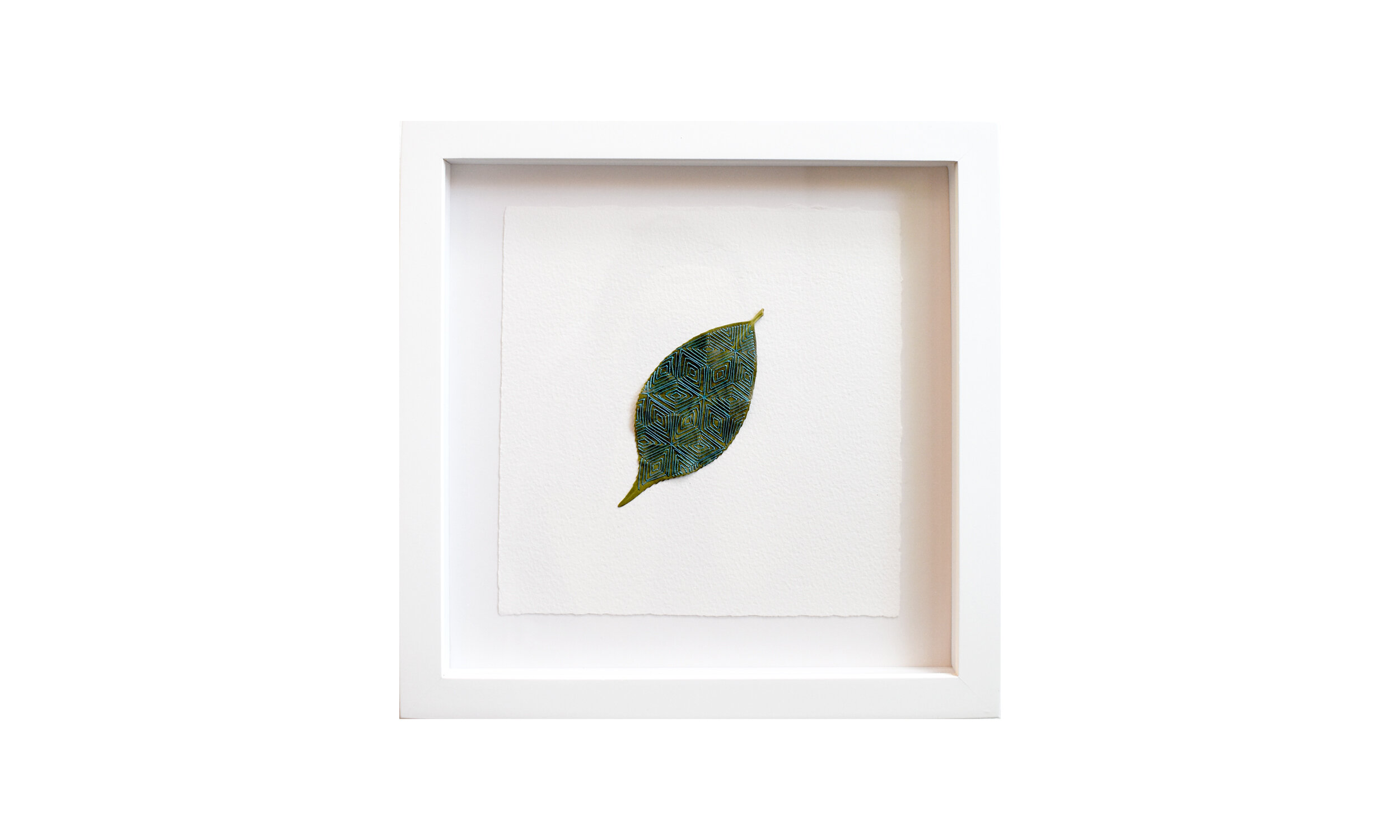 """Reaching Toward the Other,  hand stitched camellia leaf, 11.25"""" x 11.25"""", framed, $ 750    Contact us for purchase"""