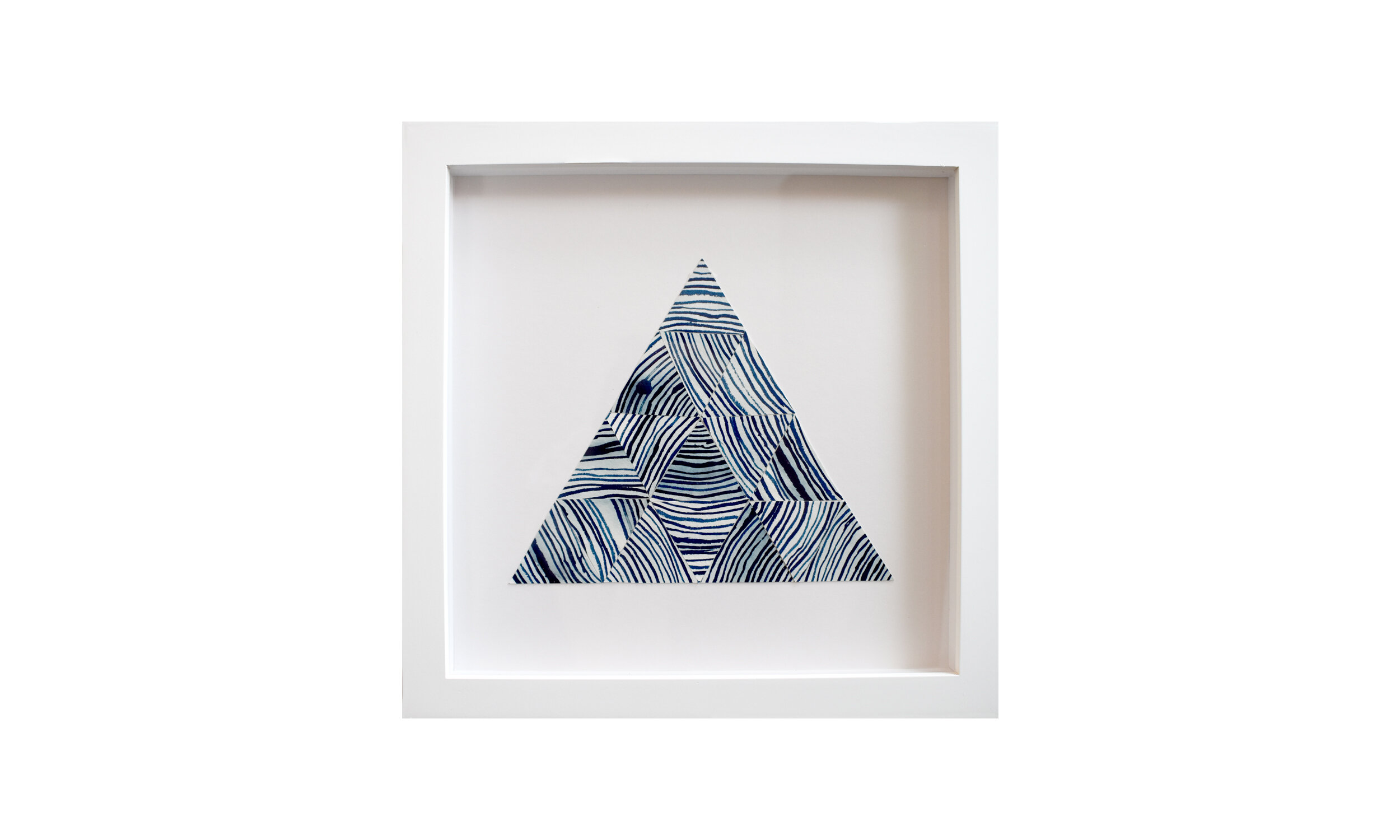 """Past : Present : Future,  cyanotype painting collage, 13.25"""" x 13.25"""", framed $ 850    Contact us for purchase"""