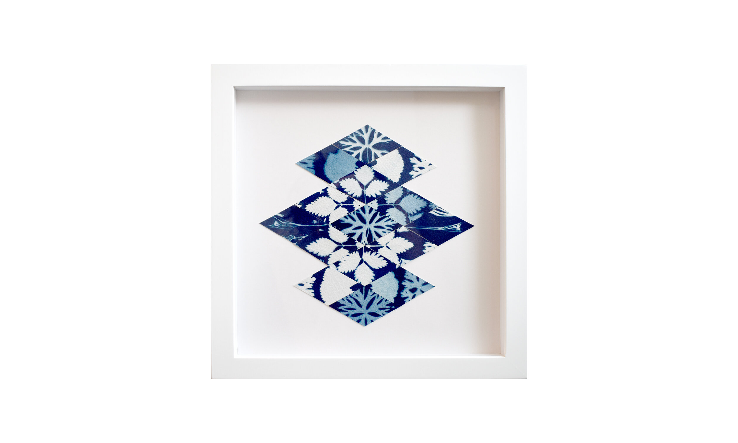 """Reflection,  cyanotype print collage, 13.25"""" x 13.25"""", framed $ 850    Contact us for purchase"""