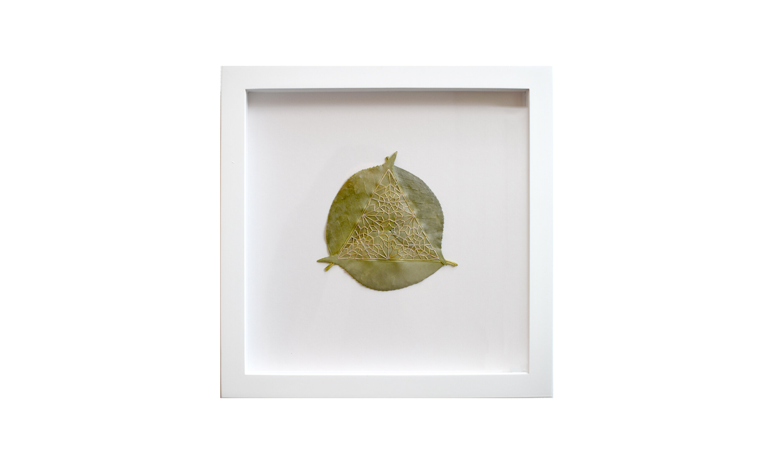 """Tetrahedron I,  stitched camellia leaves, 11.25"""" x 11.25"""", $ 850    Contact us for purchase"""