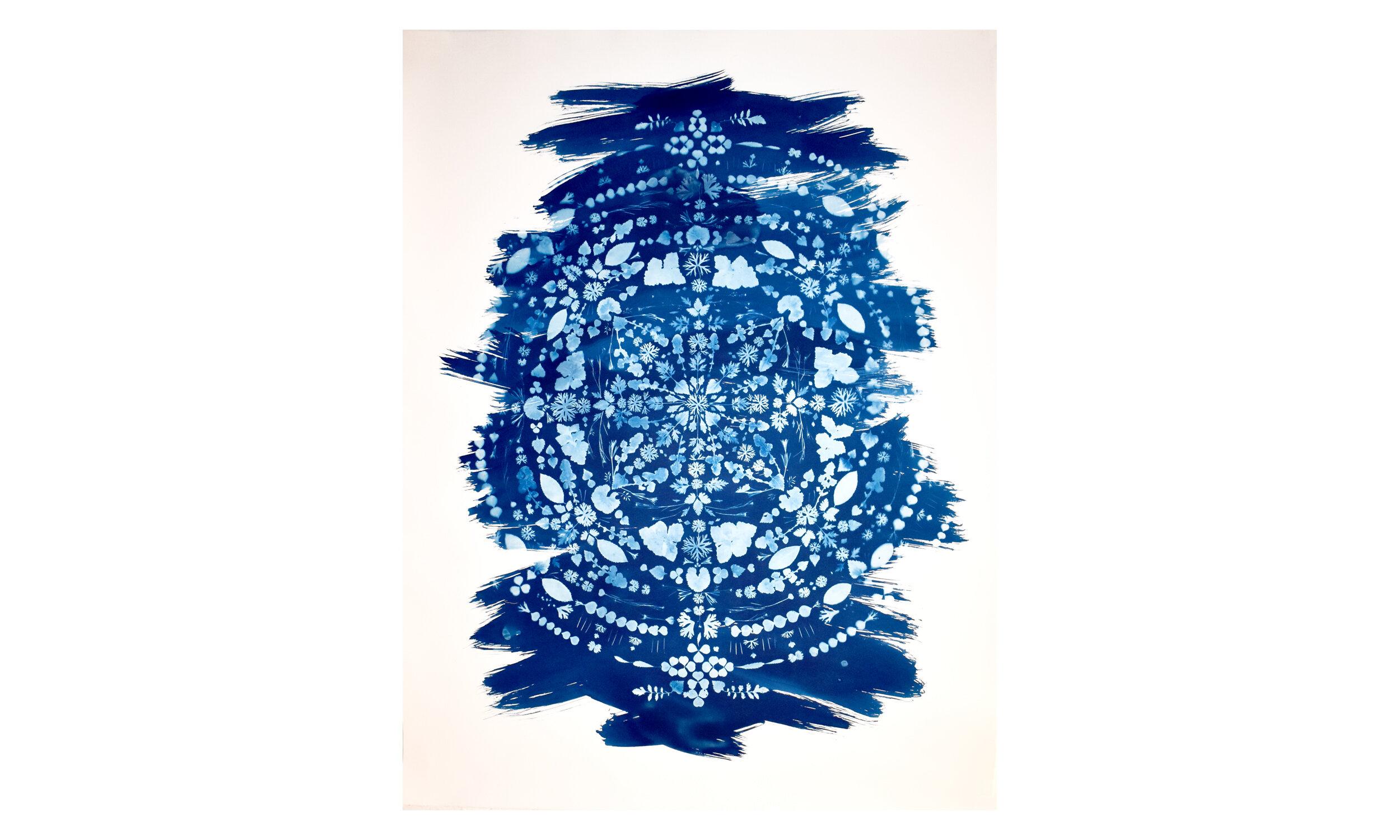 """Earthly Mandala III,  cyanotype on paper, 41.25"""" x 55.25"""", unframed $ 3,500    Contact us for purchase"""