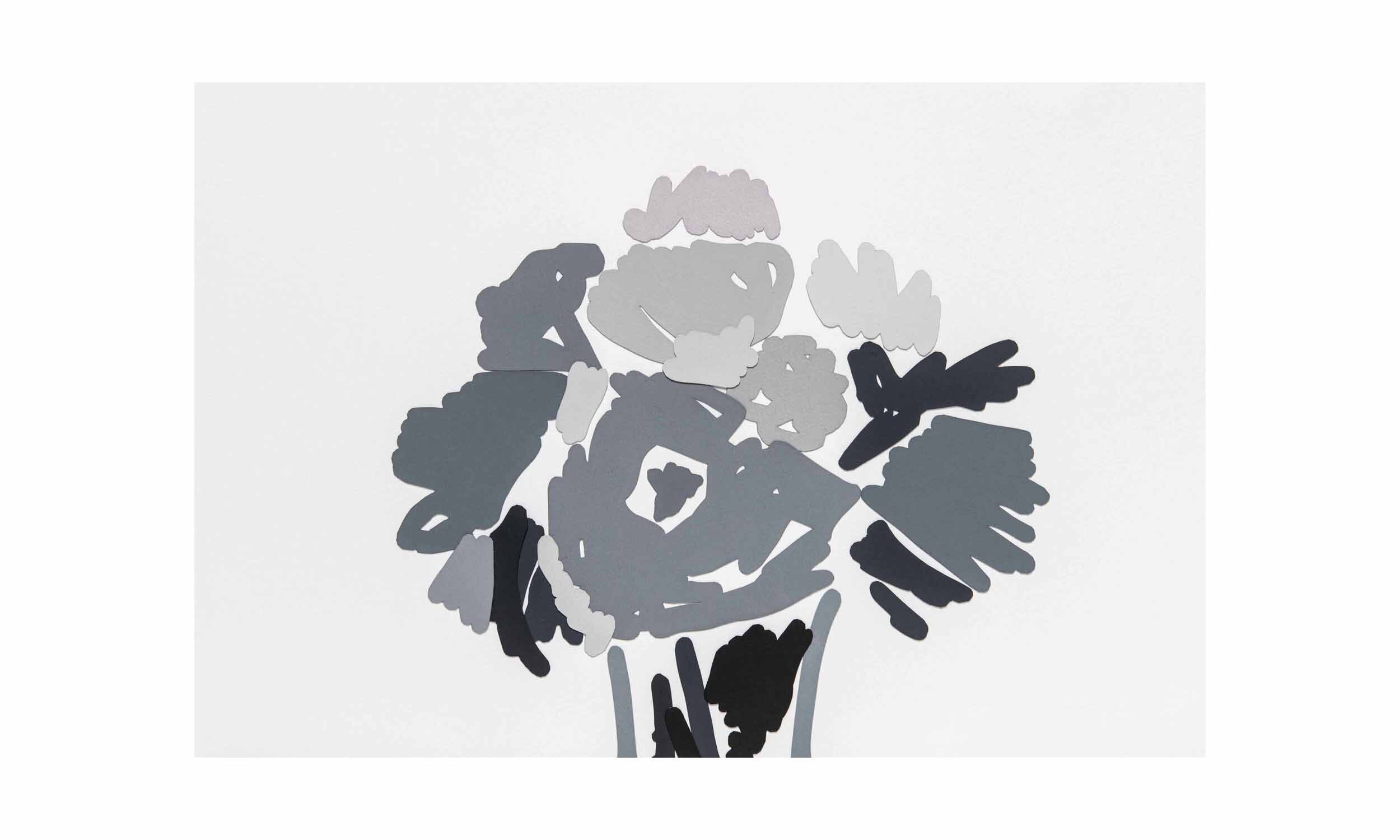 Small Bouquet; Recalling Manet  ,cout-out, collaged monotype on paper, 12 x 18 inches, unframed, $1,400    Contact us for purchase