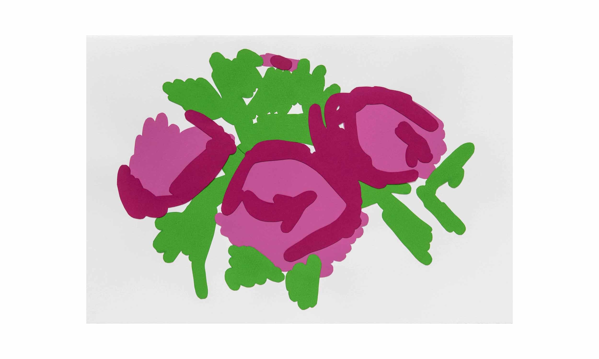 Trio of Roses , cout-out, collaged monotype on paper, 12 x 18 inches, unframed, $1,400    Contact us for purchase