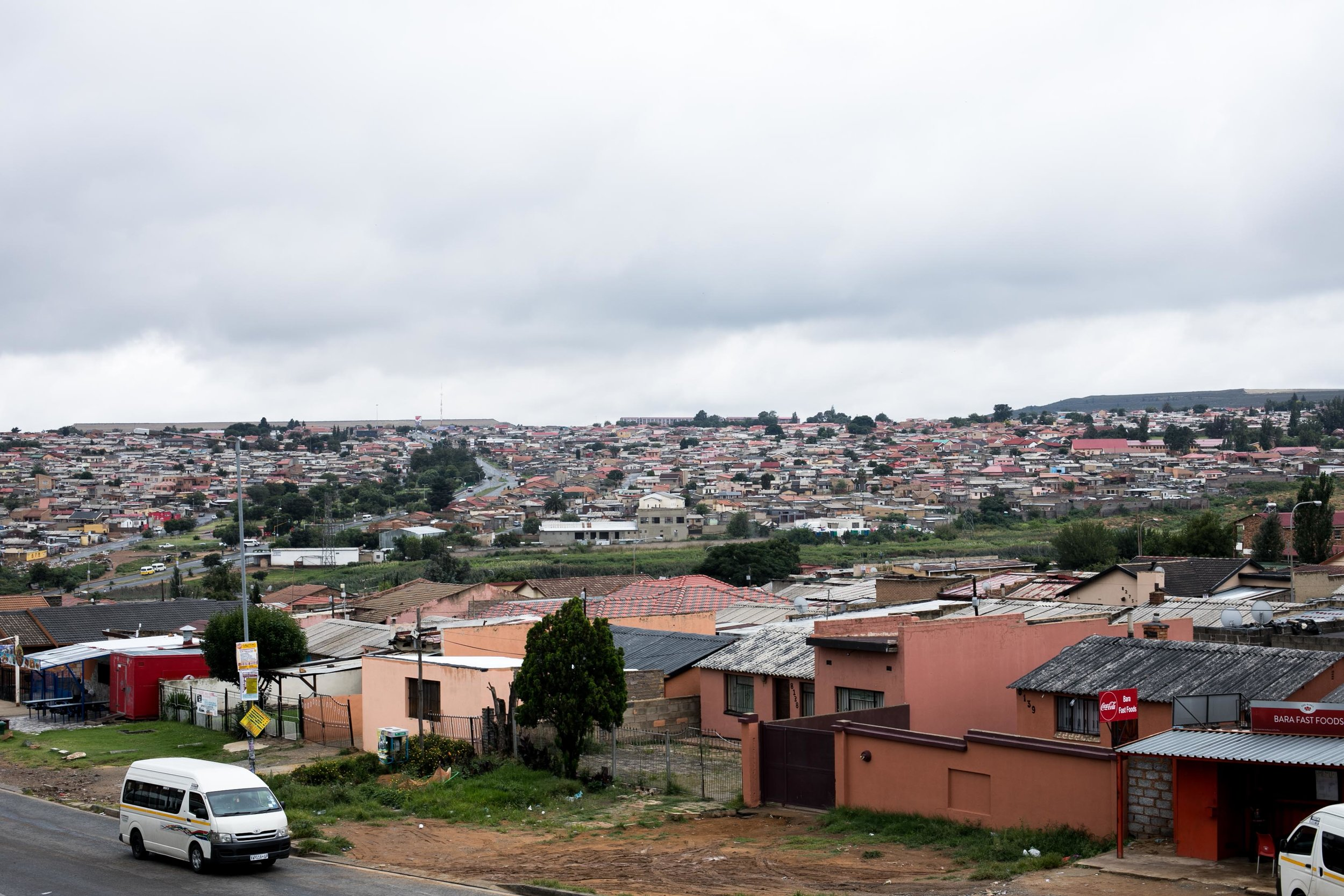 An overhead view of Soweto, an almost exclusively black township in Johannesburg, South Africa. Townships were created under the apartheid era and specifically designated for black residents.