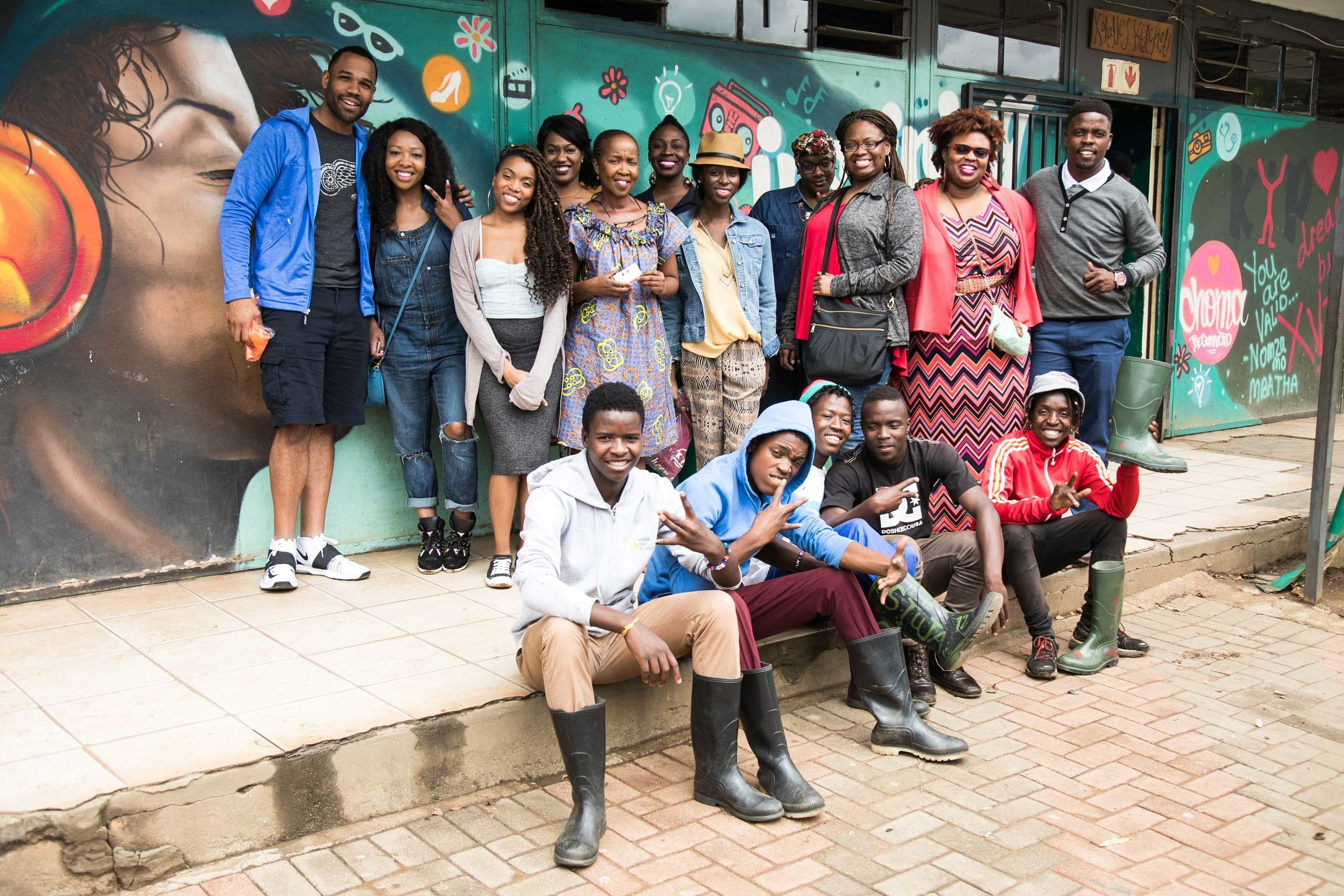 Us cheesin' with some of the amazing teens and director of Kliptown Youth Program.