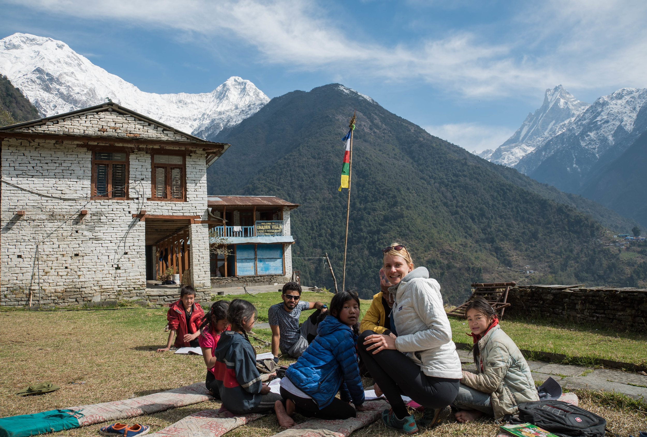 A school in a village along the way to Annapurna Base Camp. We helped with their english homework
