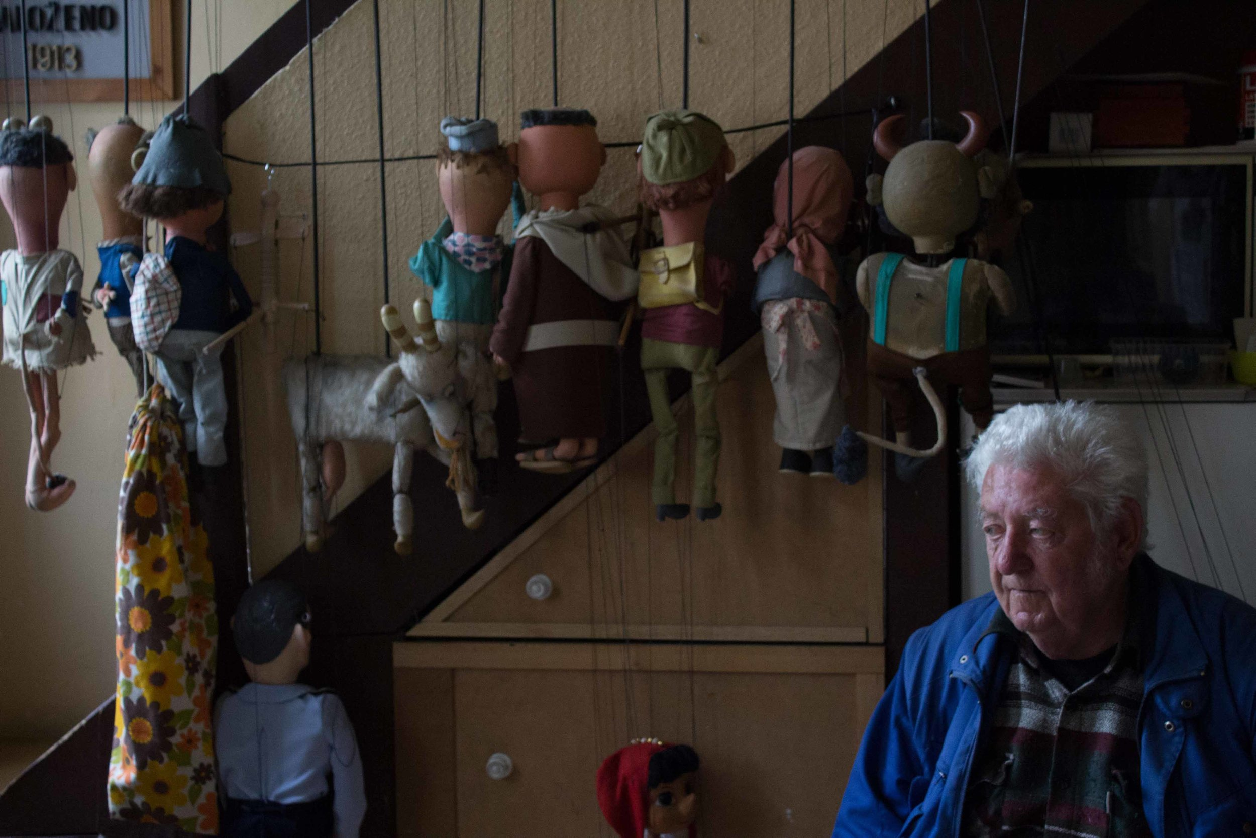 Loutkové Divadlo Jiskra is the oldest amateur puppet theater in Prague. Miloš Krása, a member of the company, waits backstage before the beginning of the weekly children's show.