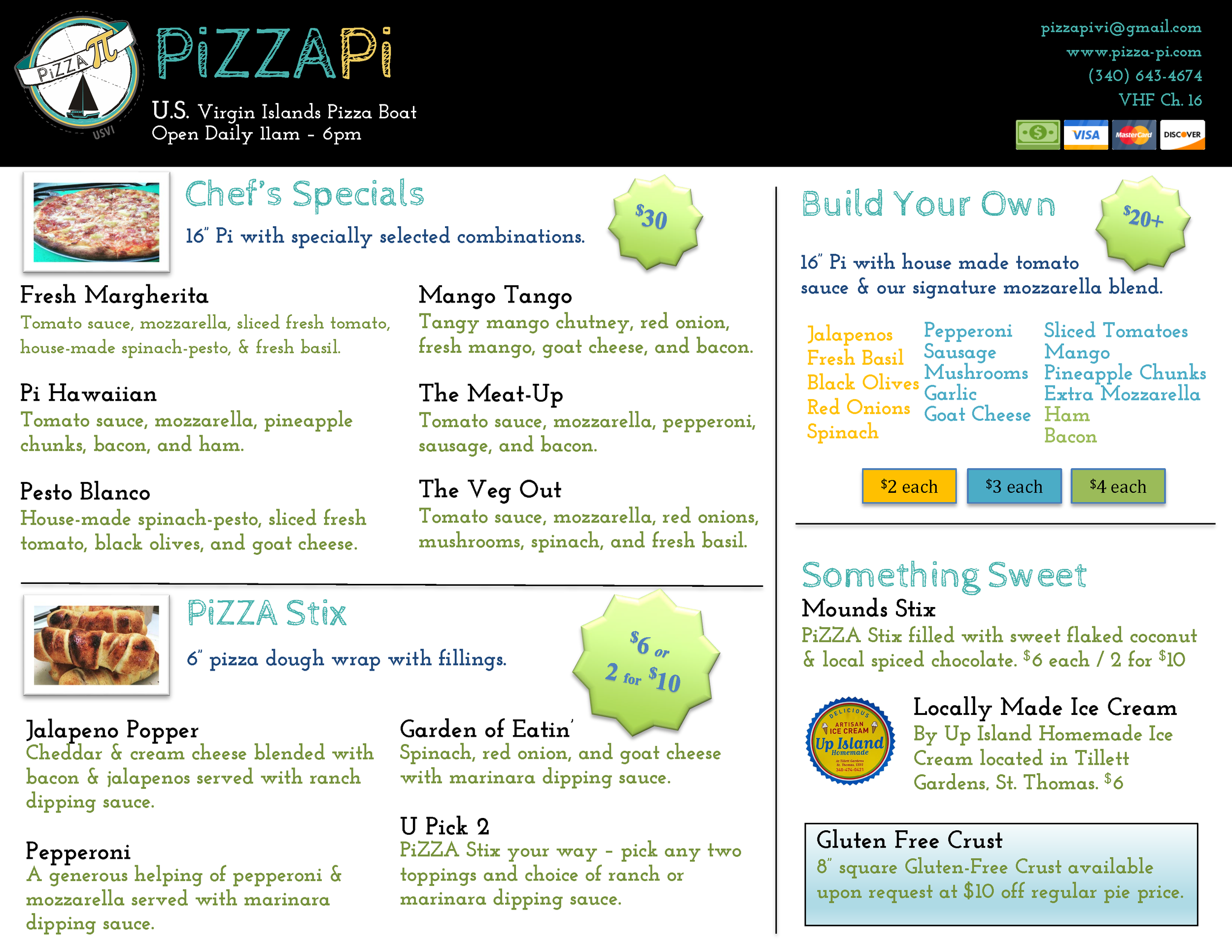 PiZZA Pi Menu - Front