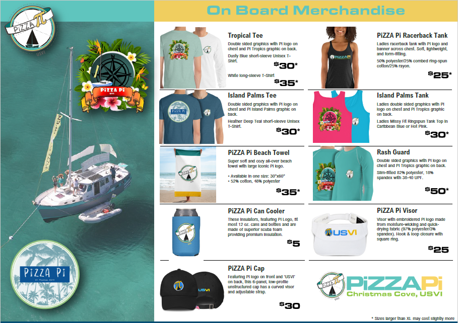 PiZZA Pi Merch Menu