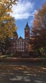 Samford Hall, one of Auburn's well-known landmarks.