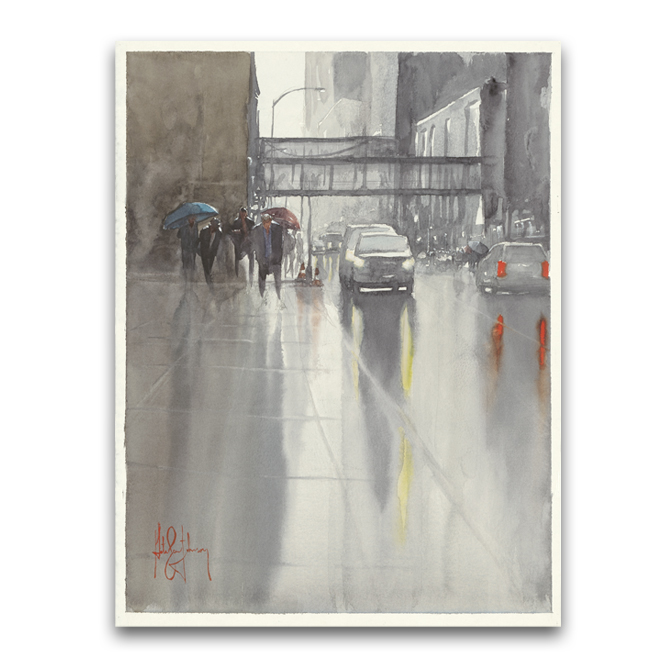 "6th St Rain, Mpls, watercolor  11""x14""   buy prints  / original SOLD"