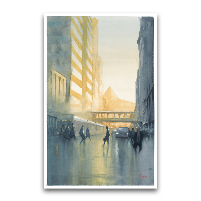 "5th St Morning Commute, watercolor  18"" x 28""   buy prints  / original available"
